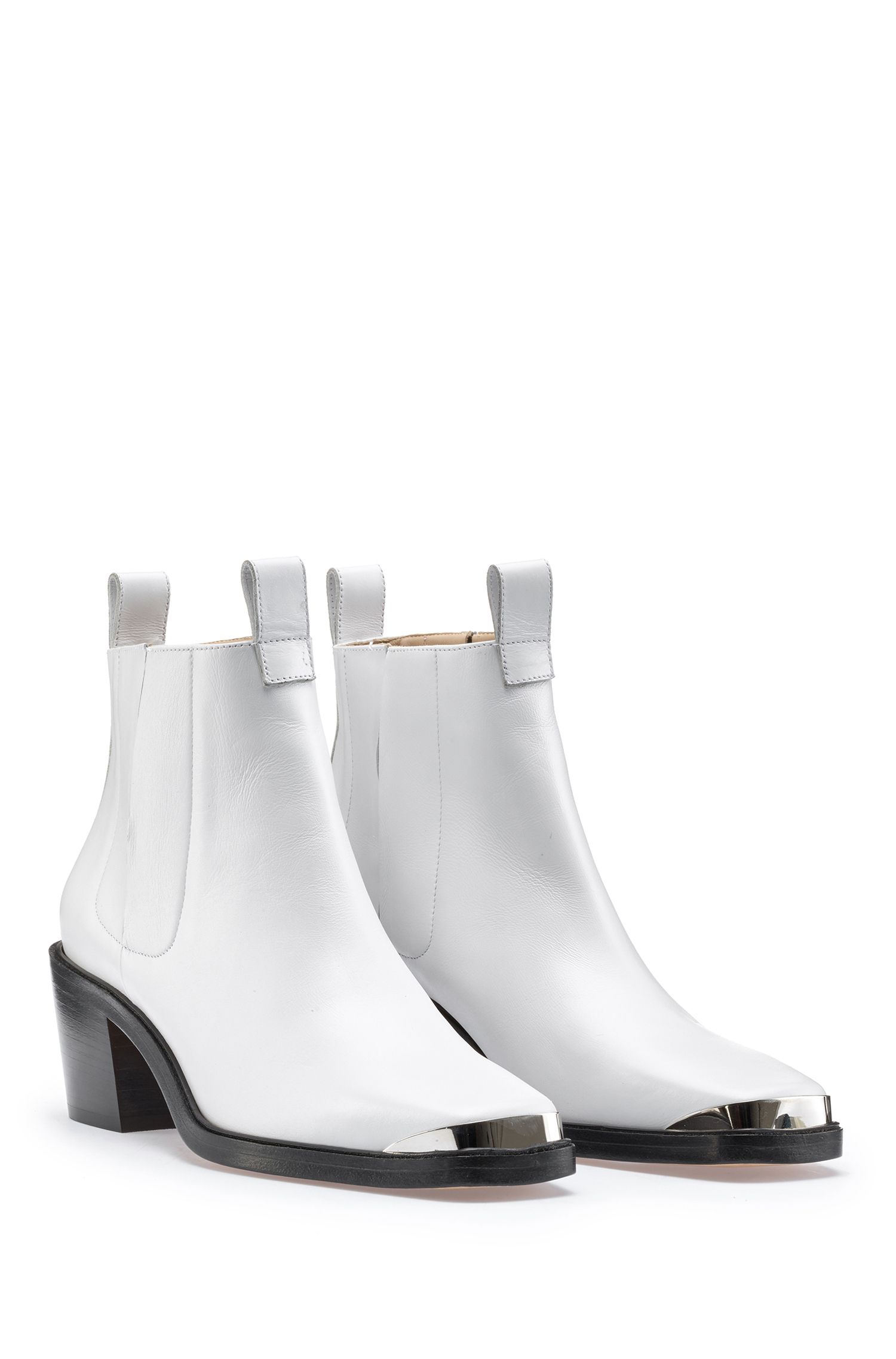 Italian calf-leather Chelsea boots with polished silver trim, White