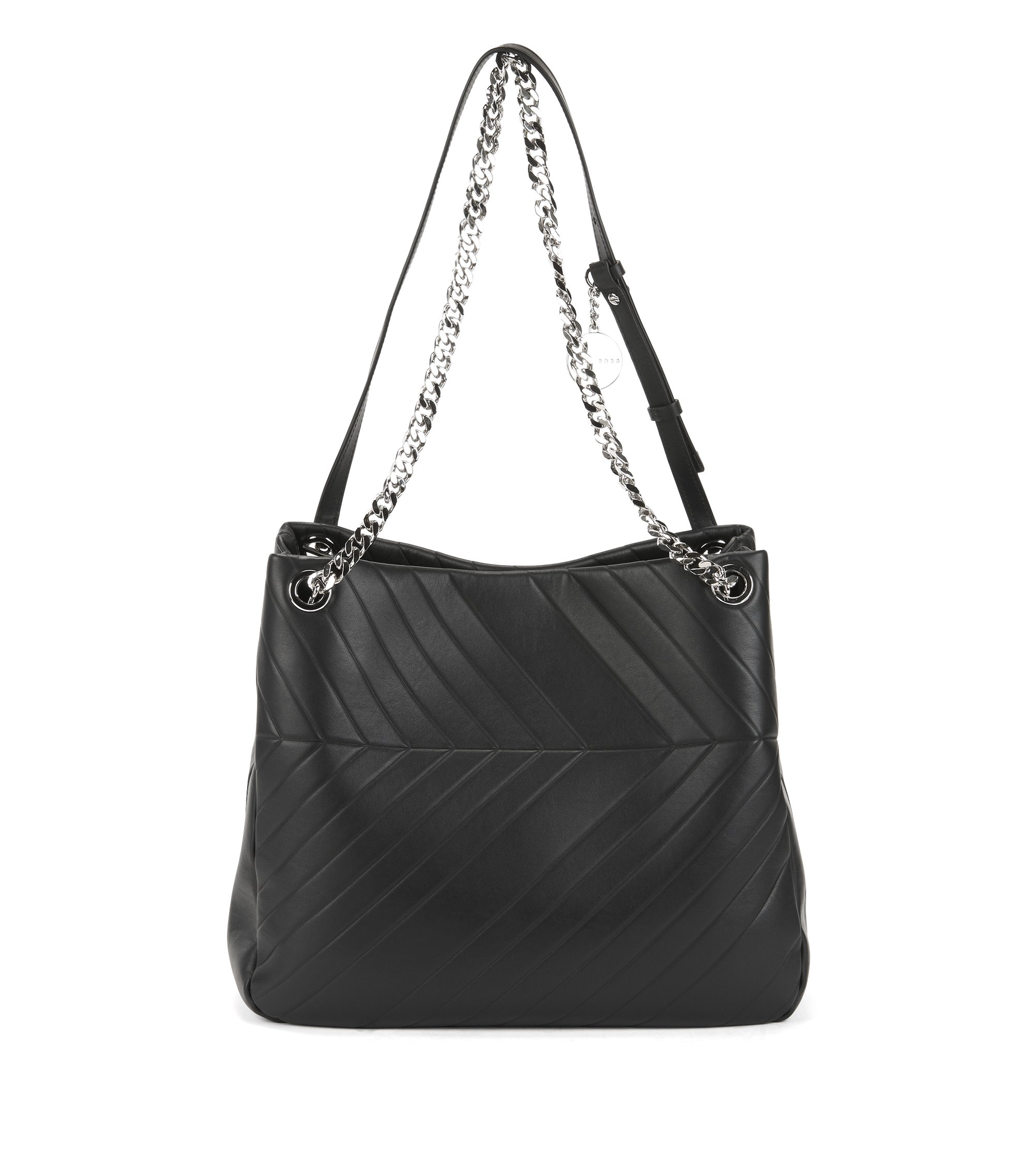 Leather hobo bag with chevron quilting, Black
