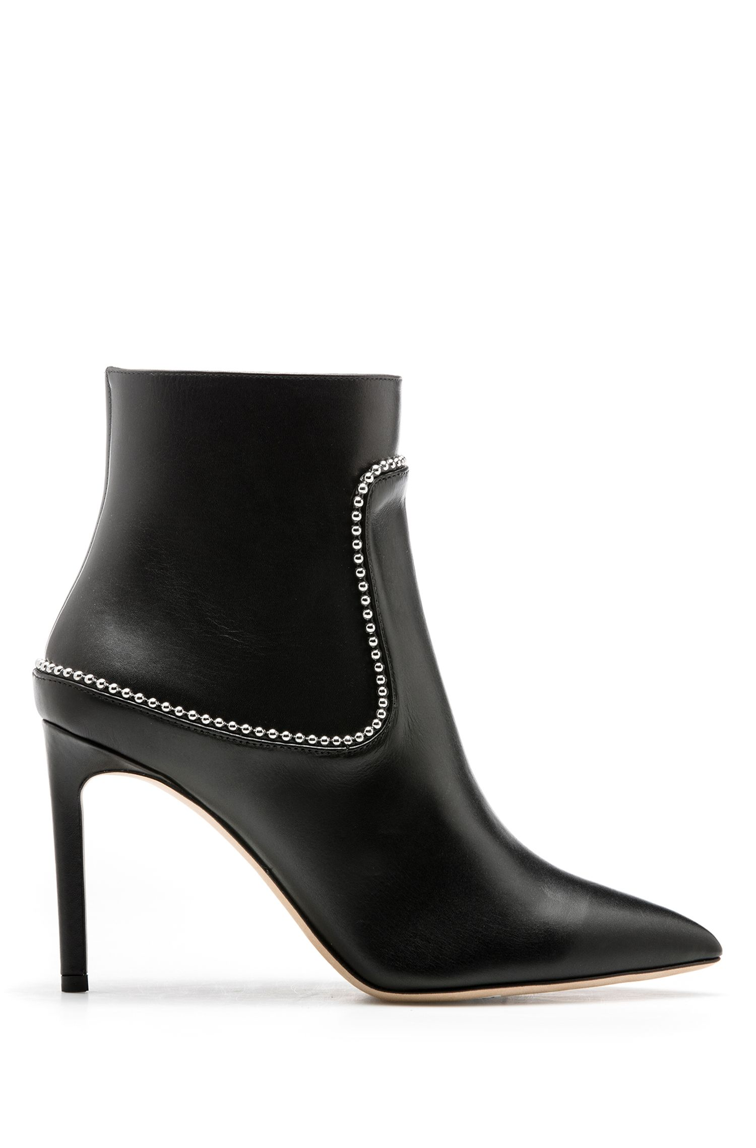 Heeled ankle boots in calf leather with studs, Black