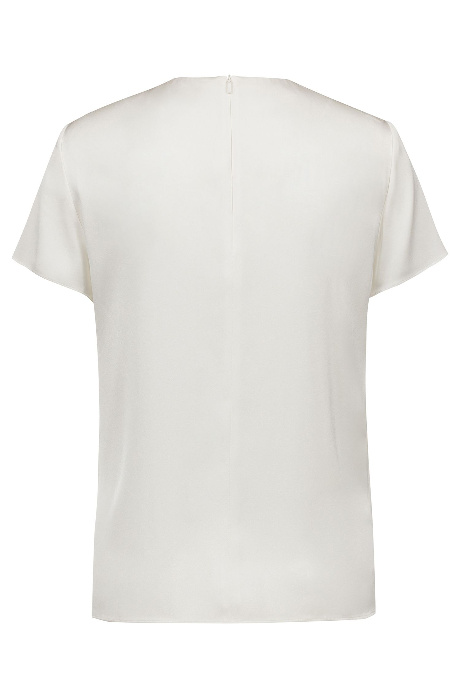 Stretch-silk top with logo-engraved neckline trim, Natural