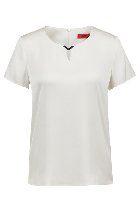 Stretch-silk top with logo-engraved neckline trim, Natural