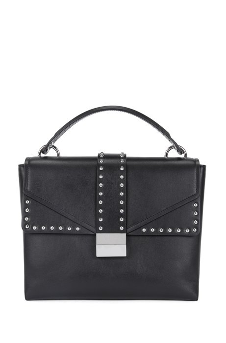 Top-handle bag in smooth Italian leather, Black