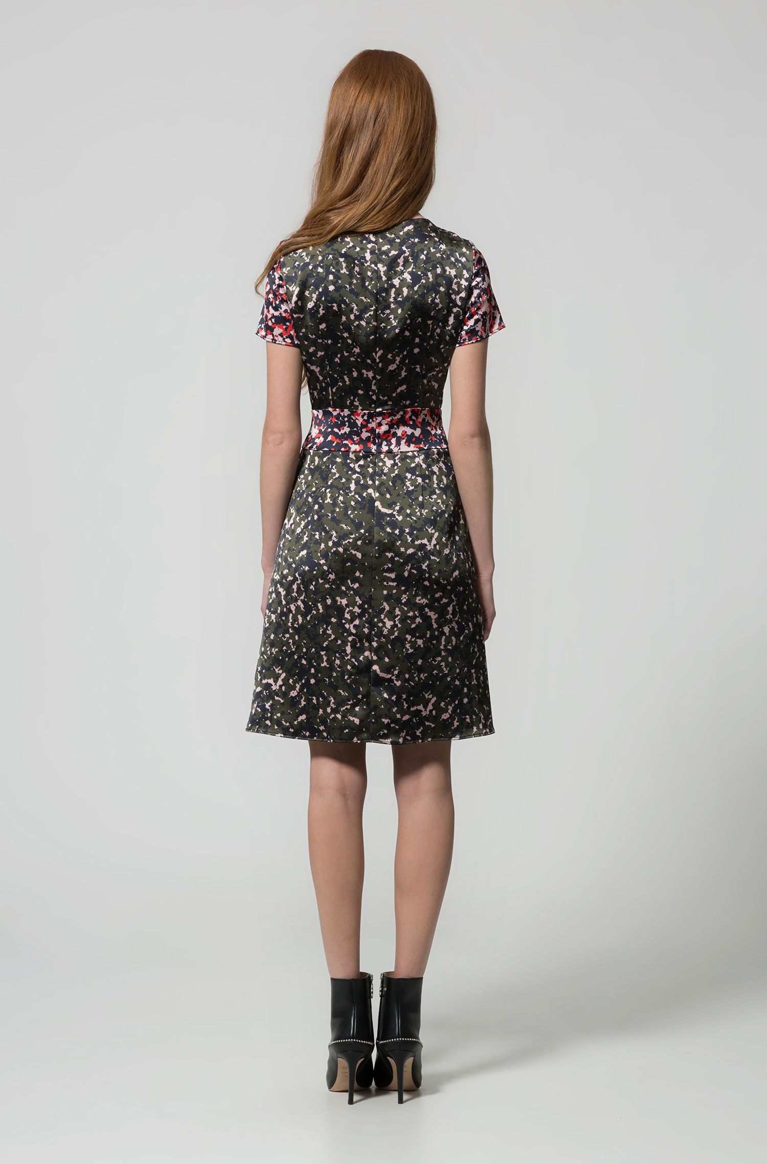 Camouflage-print dress on hammered fabric