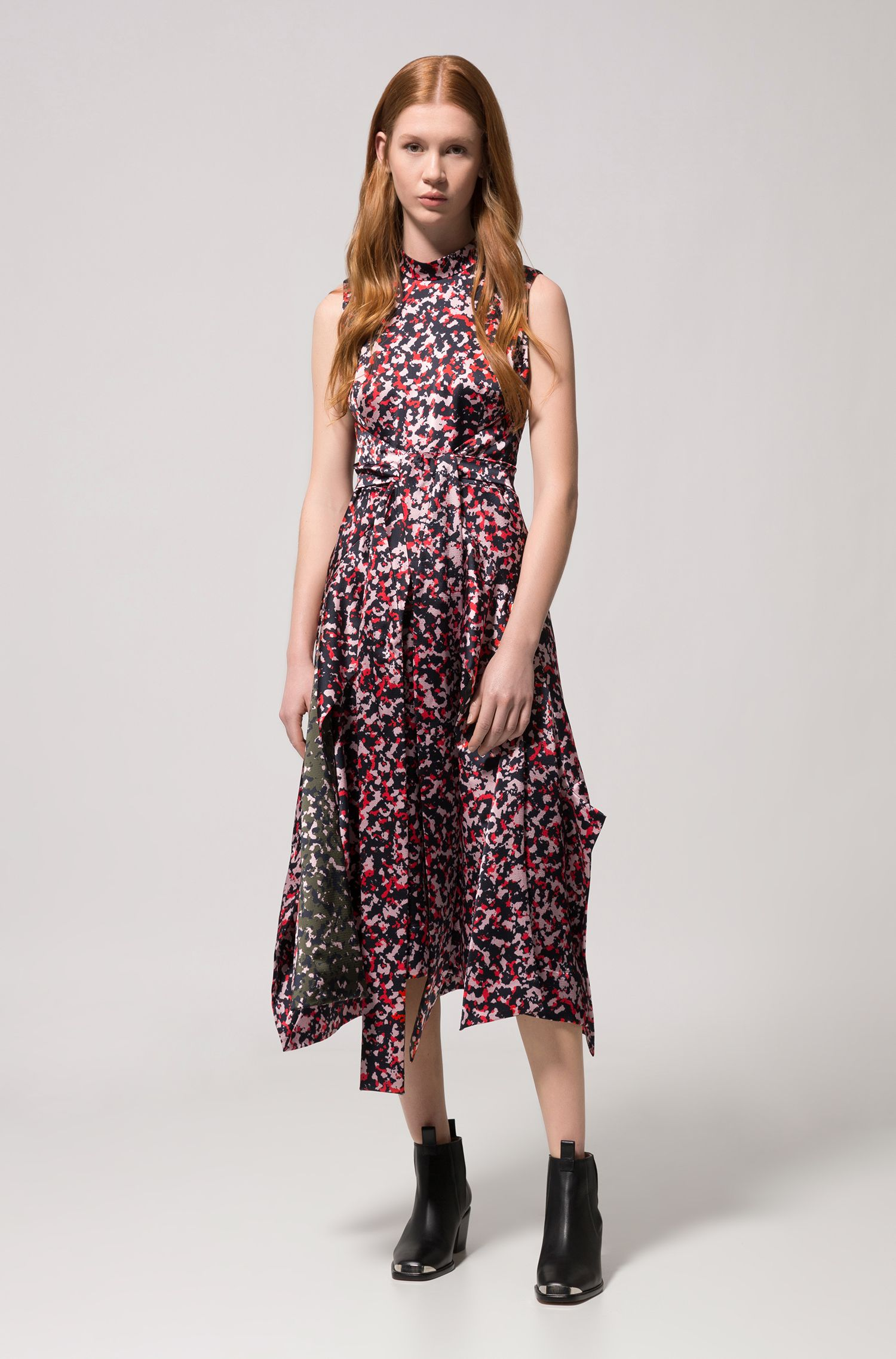 Midi-length dress in camouflage print with knot detail