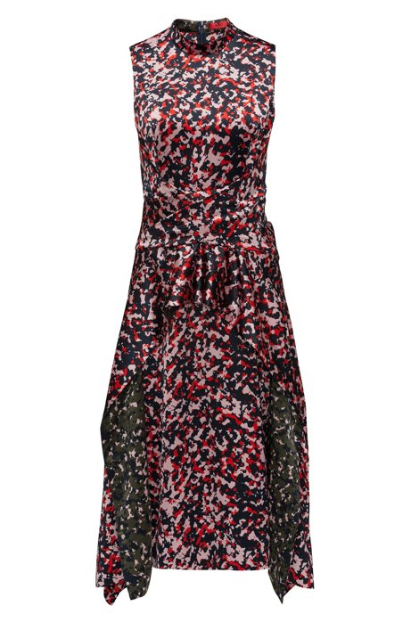 Midi-length dress in camouflage print with knot detail HUGO BOSS cEyhn