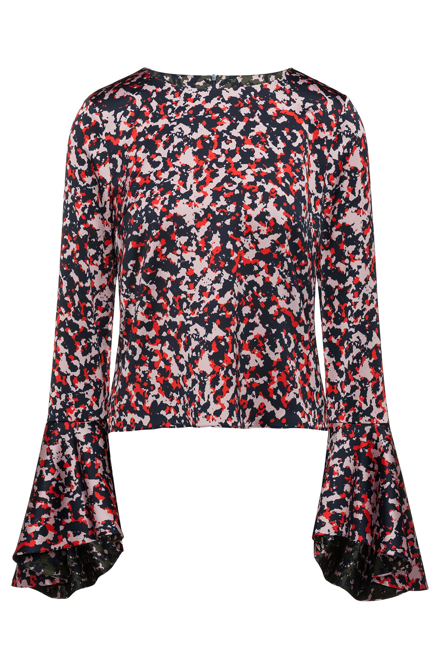 Camouflage-print top with volant sleeves, Patterned