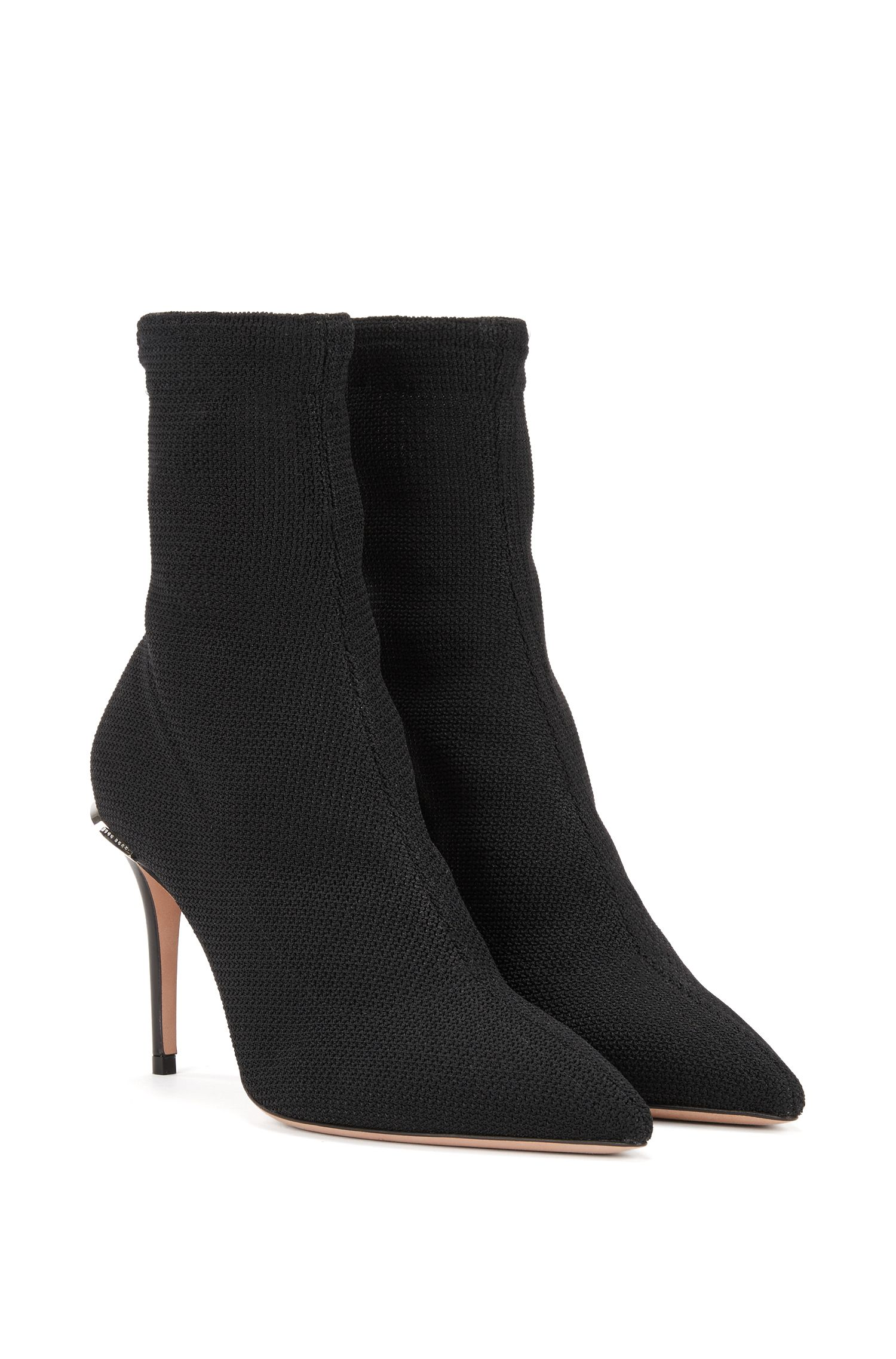 Italian-made boots in woven stretch fabric, Black