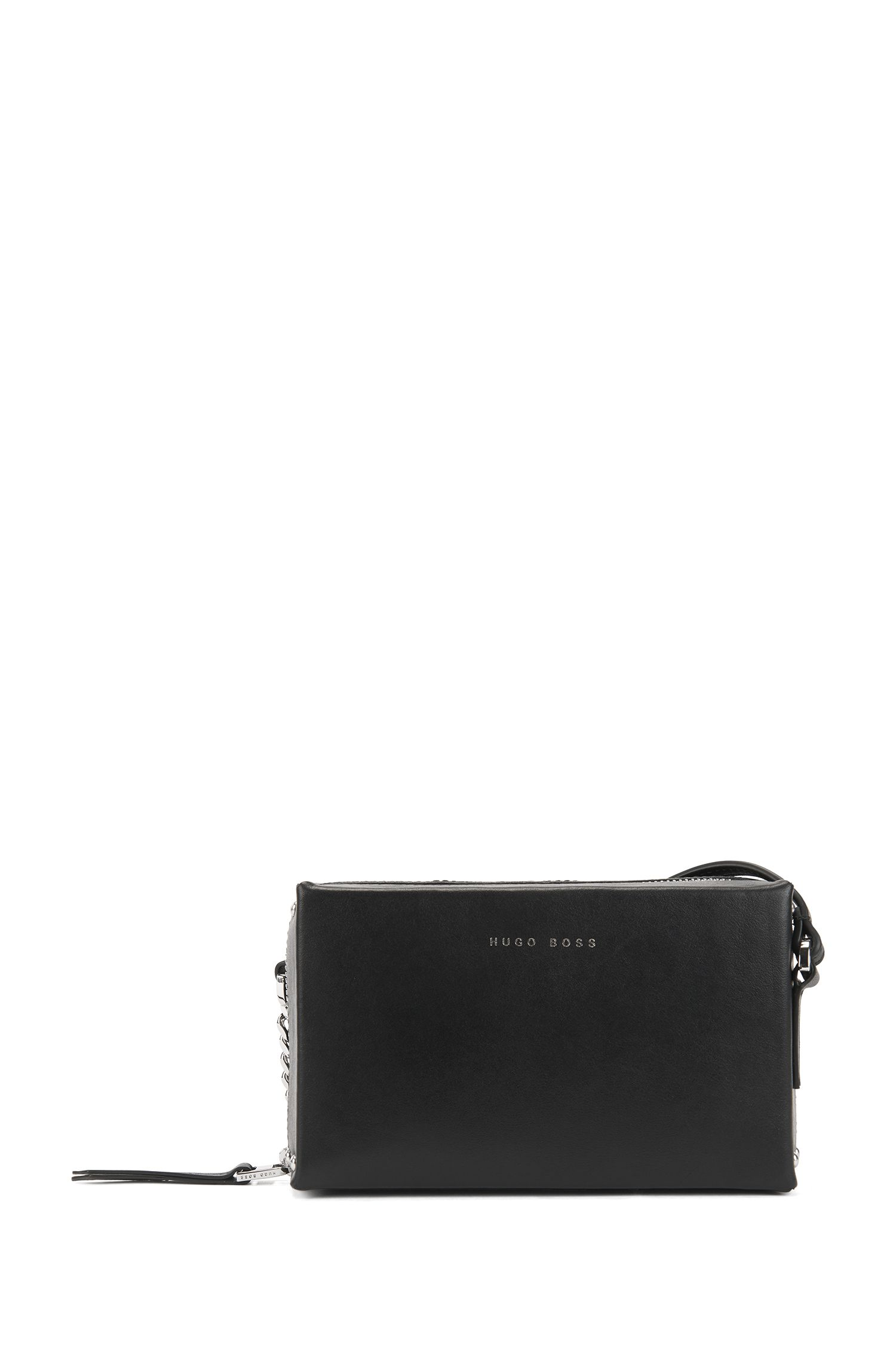 Italian-leather cross-body bag with chain strap, Black