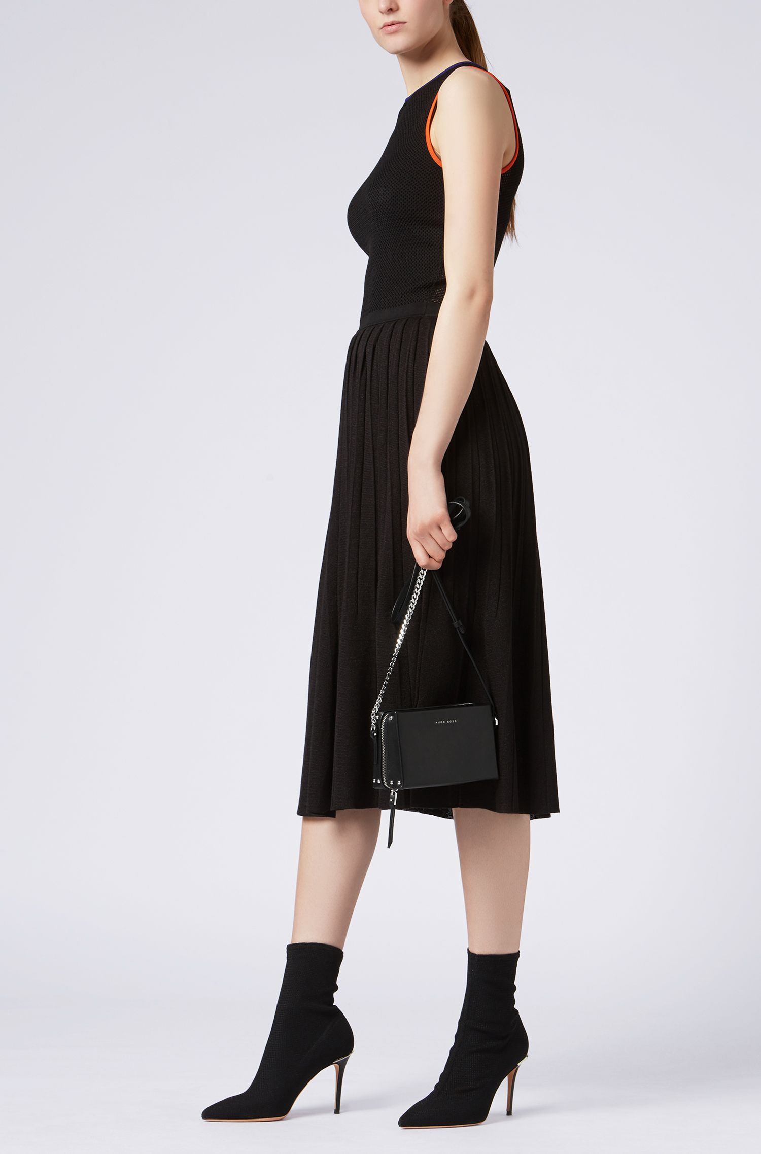 Italian-leather cross-body bag with chain strap