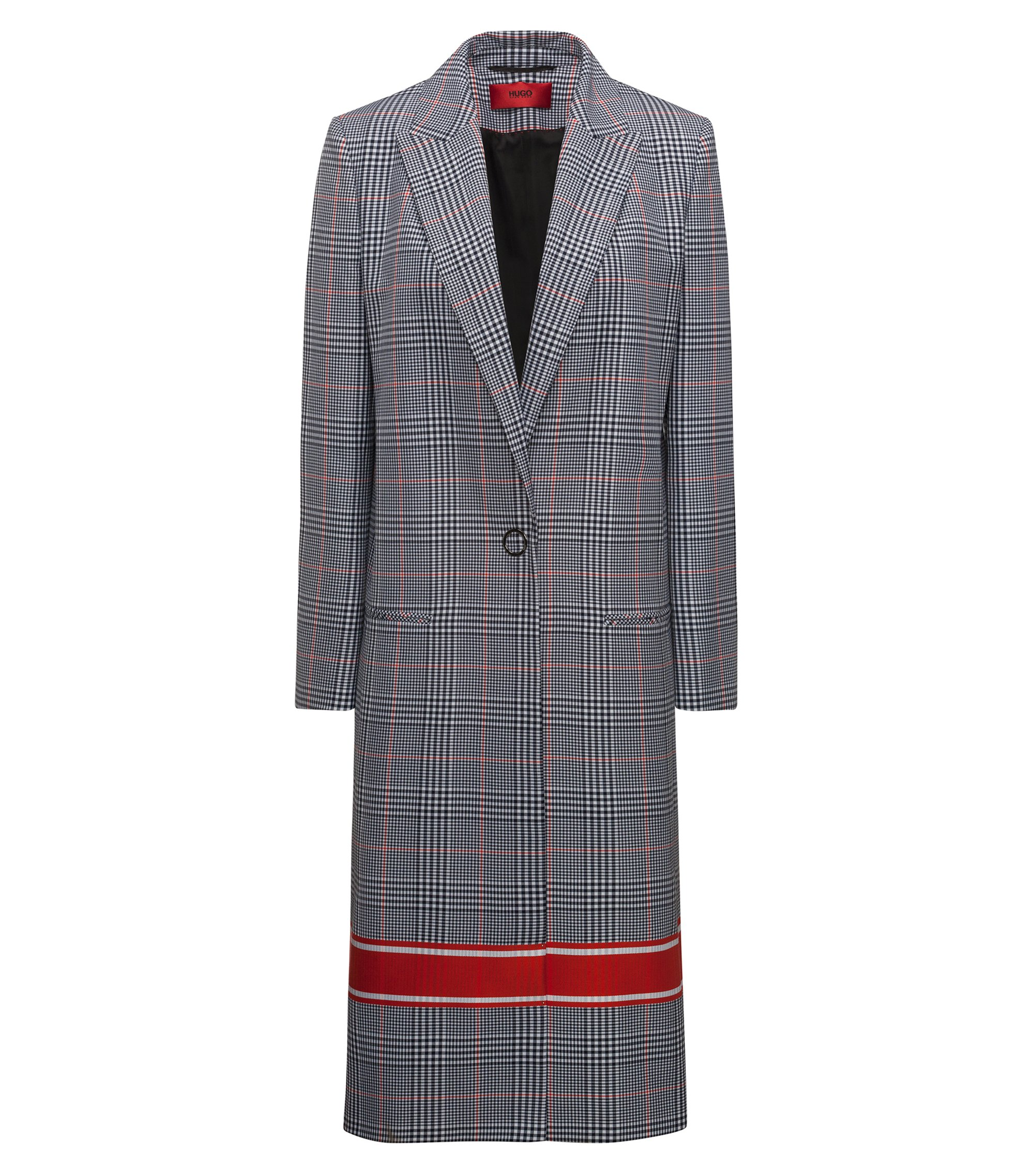 Relaxed-fit coat with plain check and contrast stripe, Patterned