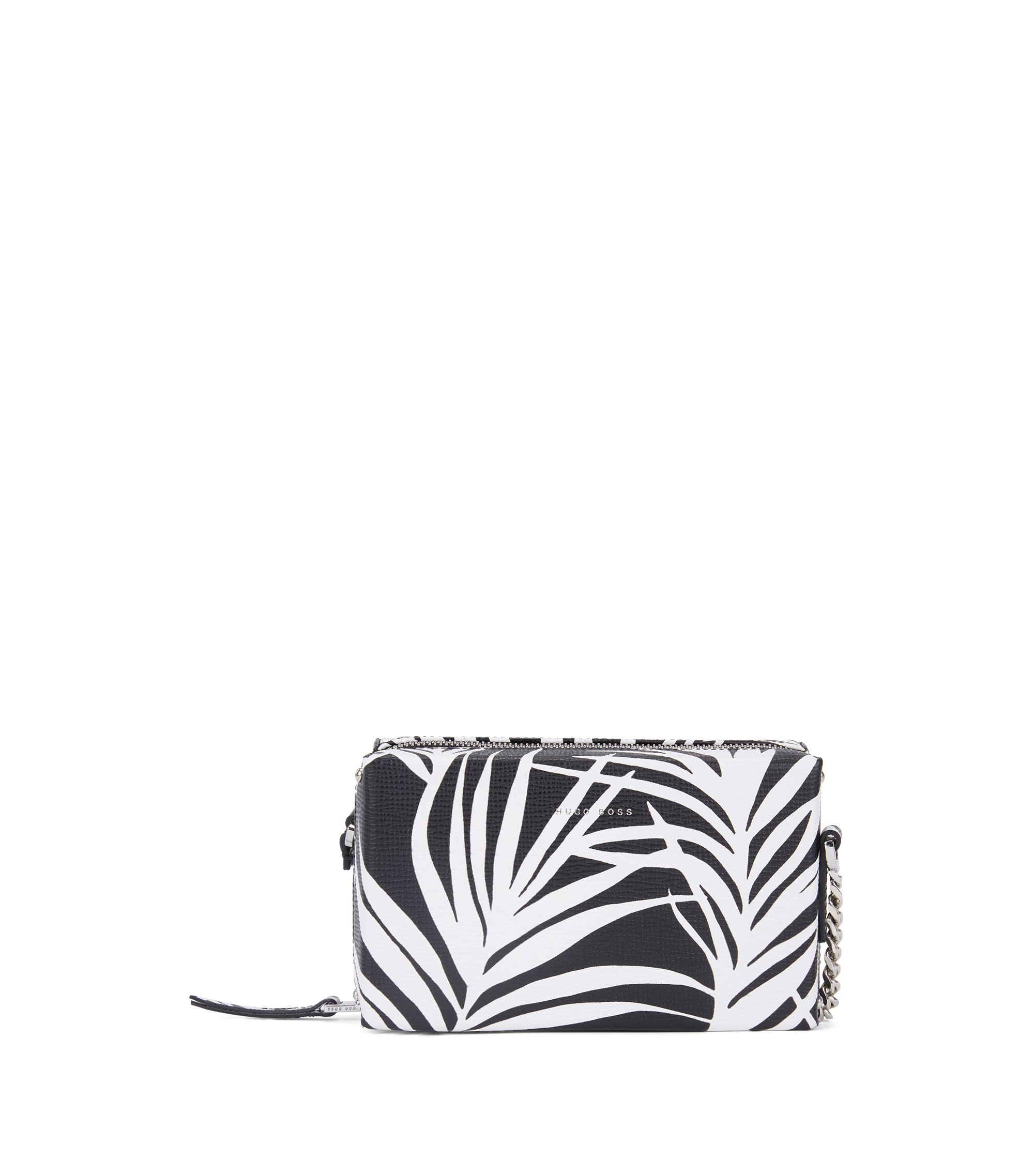 Patterned cross-body bag in Italian calf leather, Black