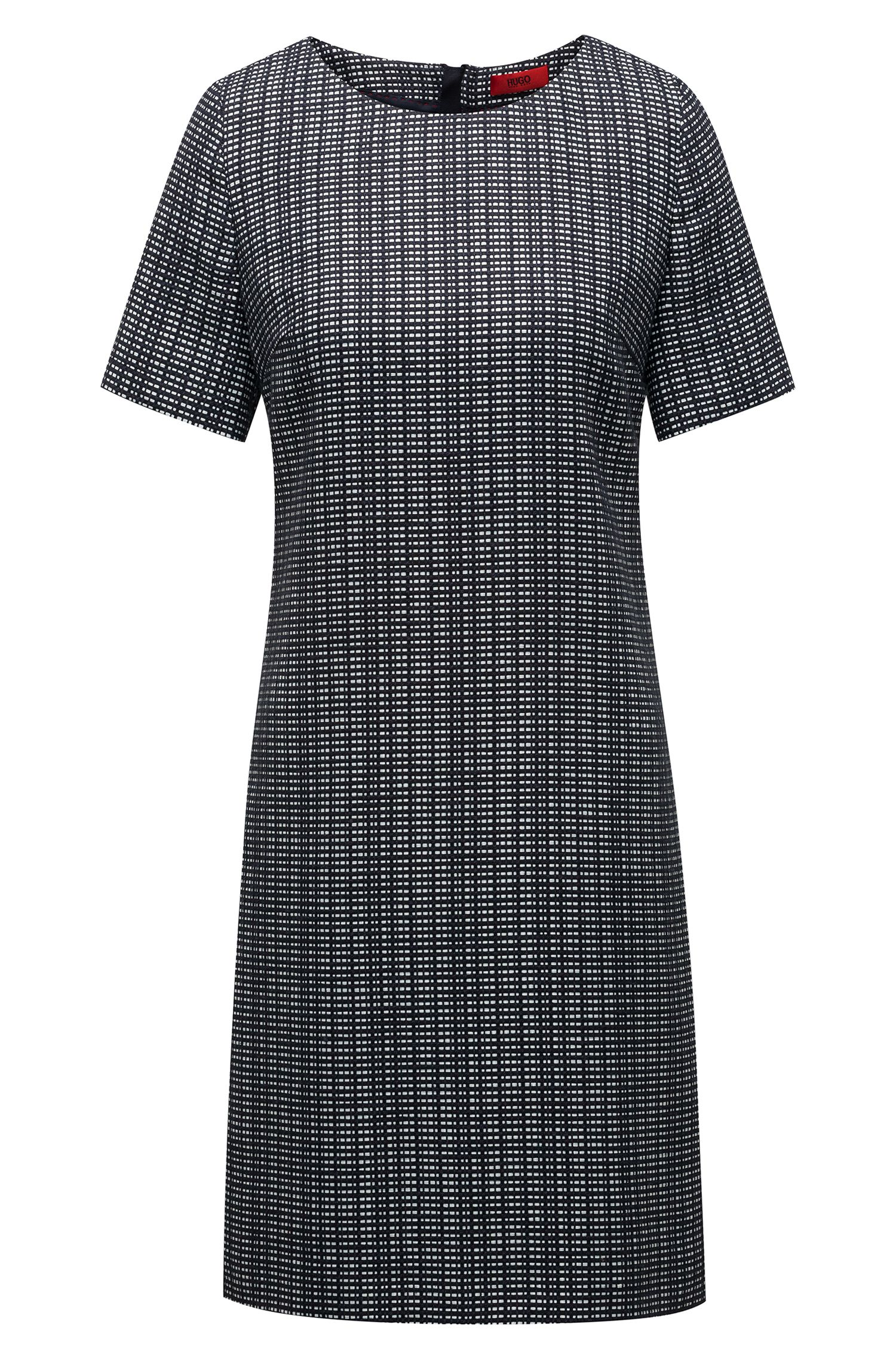 A-line dress with structured design and woven stripes, Open Blue