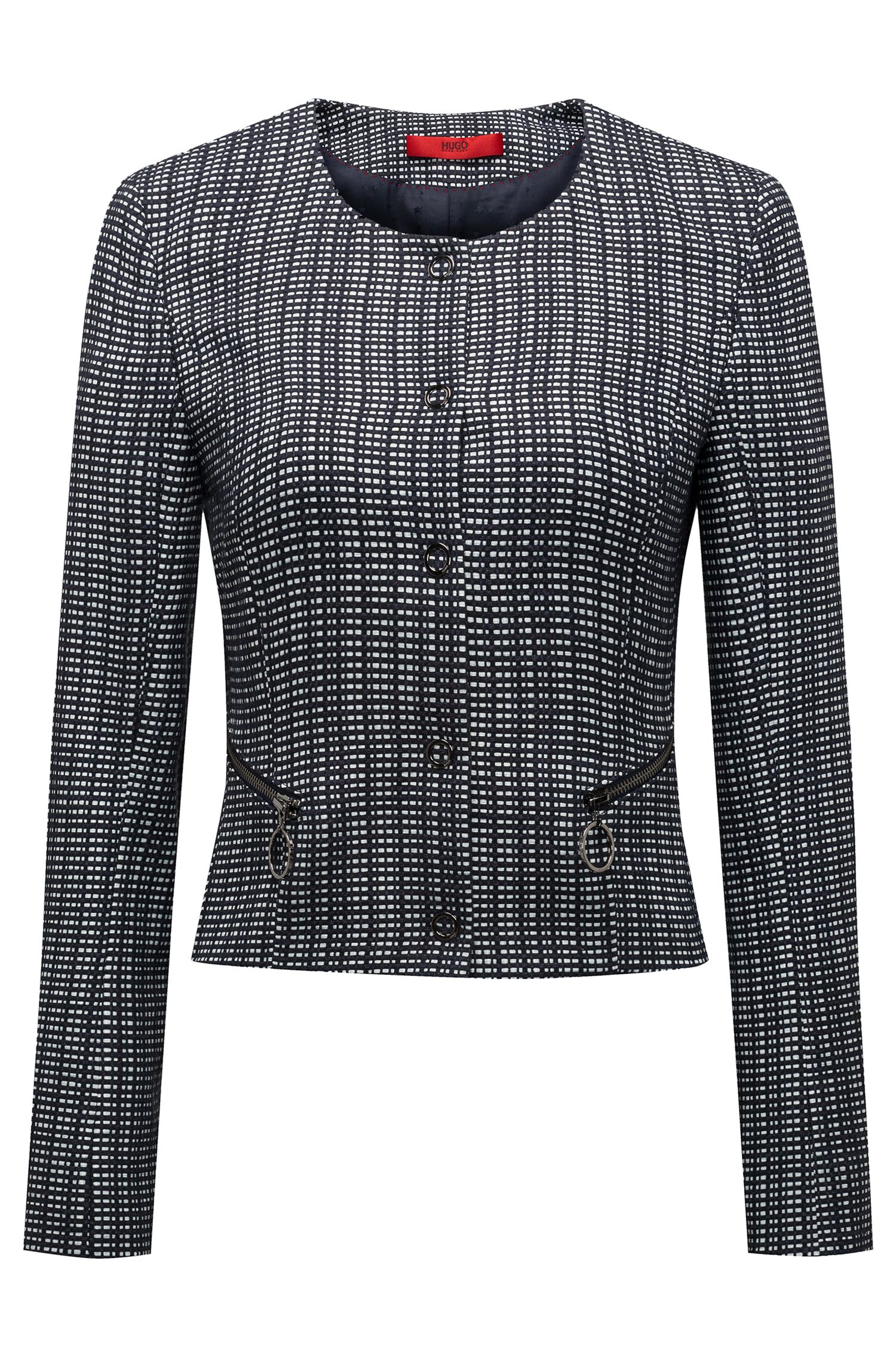 Slim-fit cropped jacket in a checked cotton blend