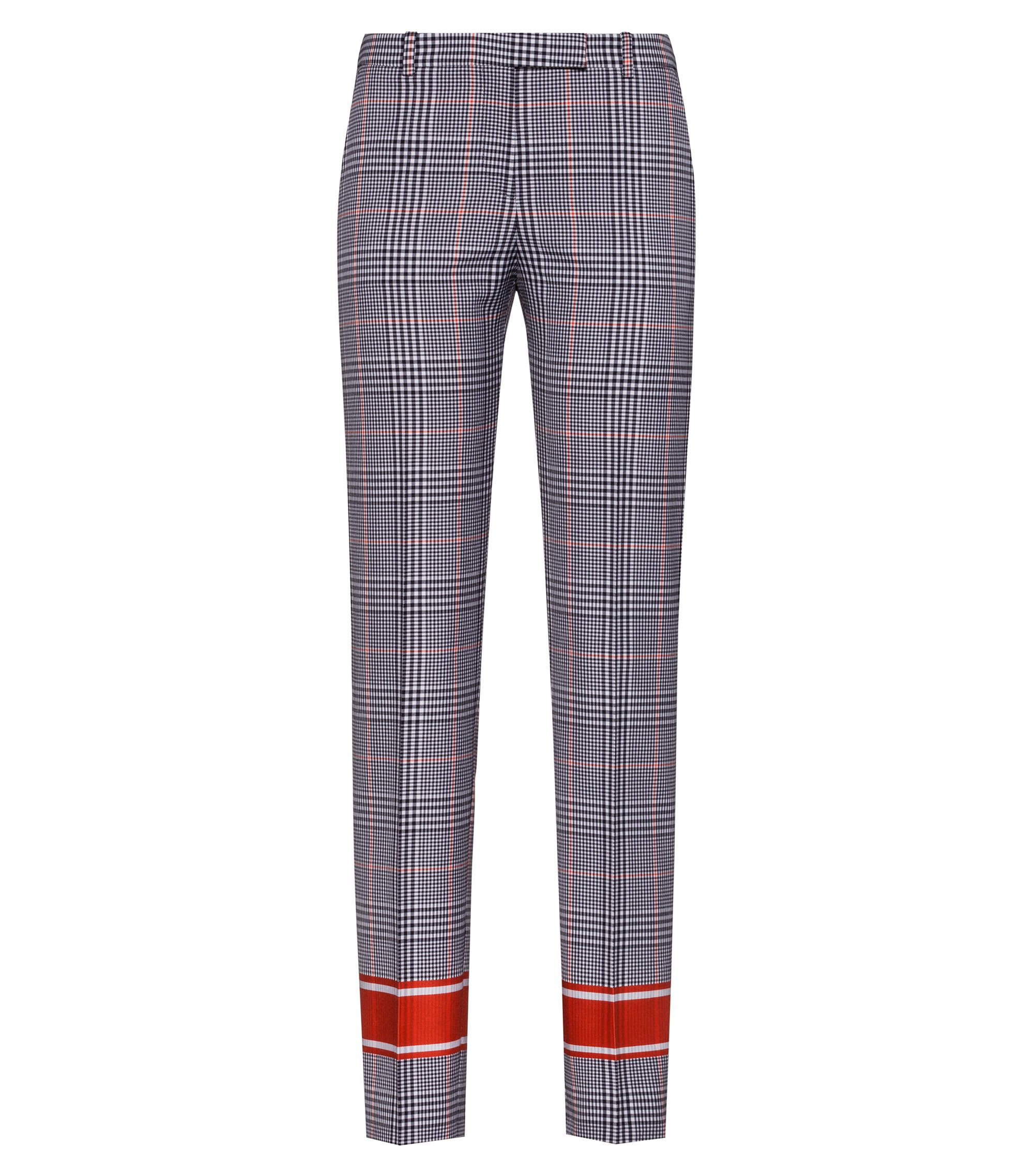 Regular-fit checked cigarette pants with contrast stripes, Patterned