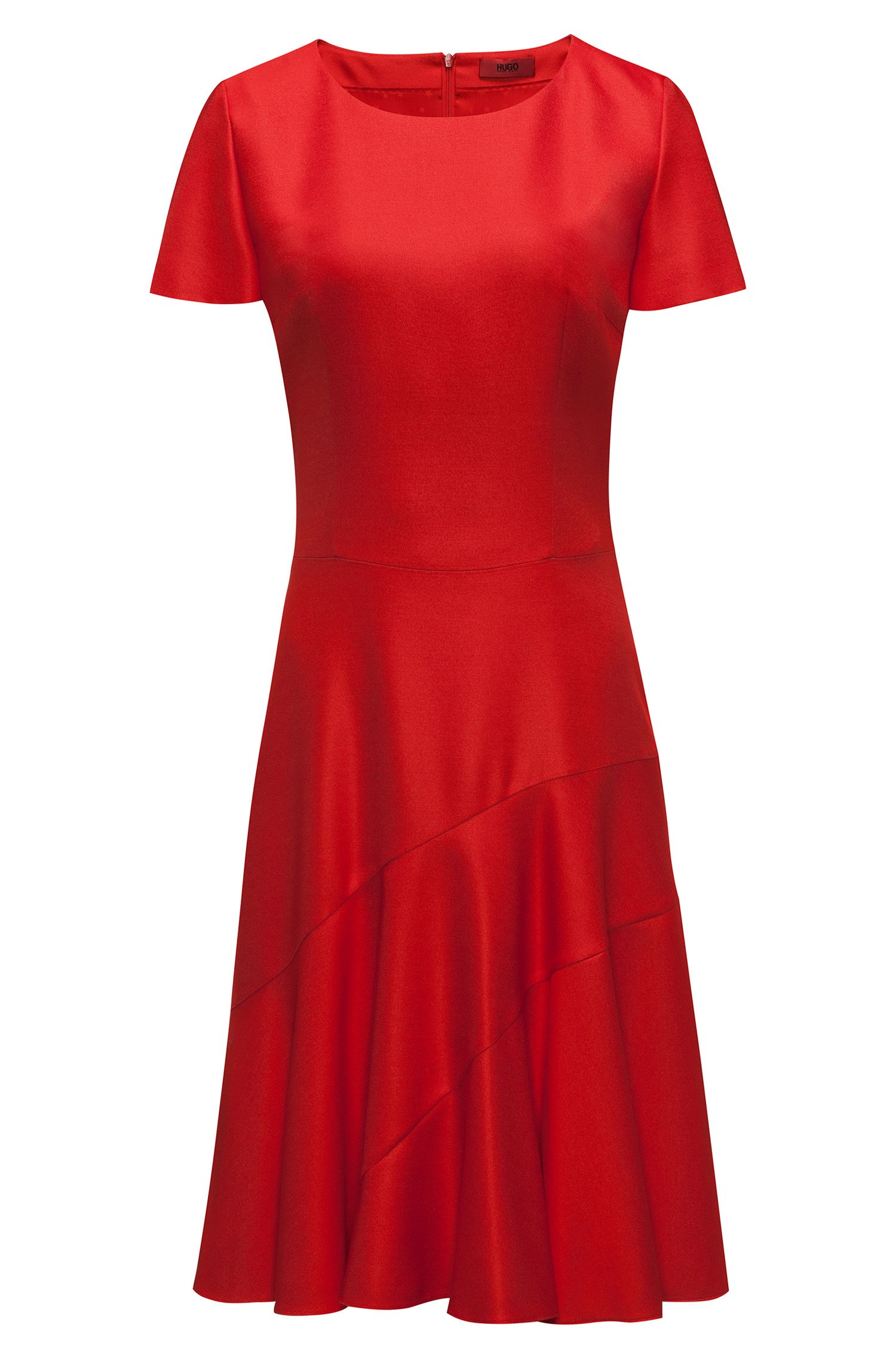 Stretch-fabric dress with paneled skirt, Red