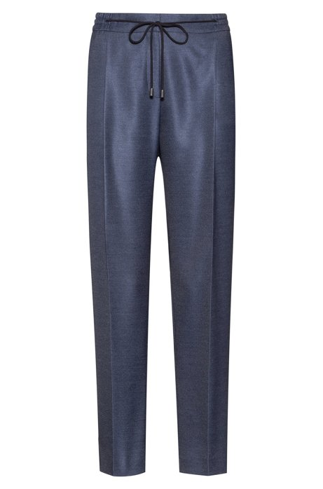 Relaxed-fit pants in stretch fabric with drawstring waist, Open Blue