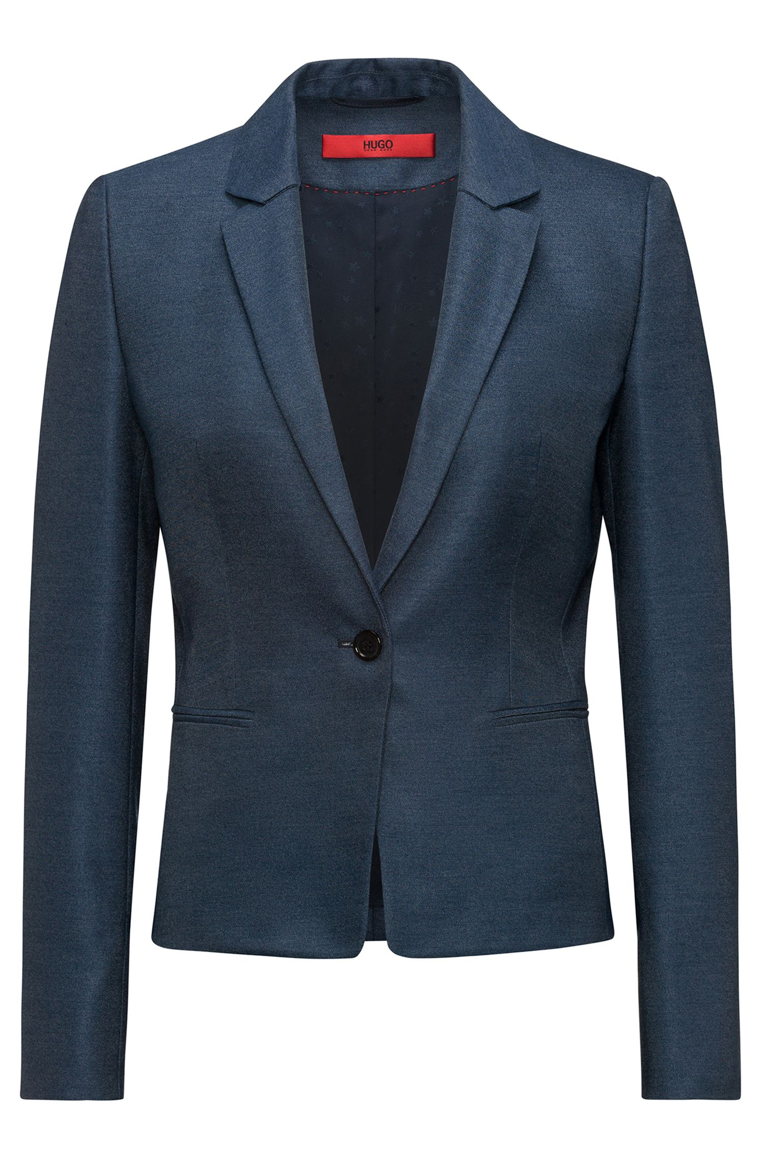 Slim-fit blazer in lustrous stretch fabric