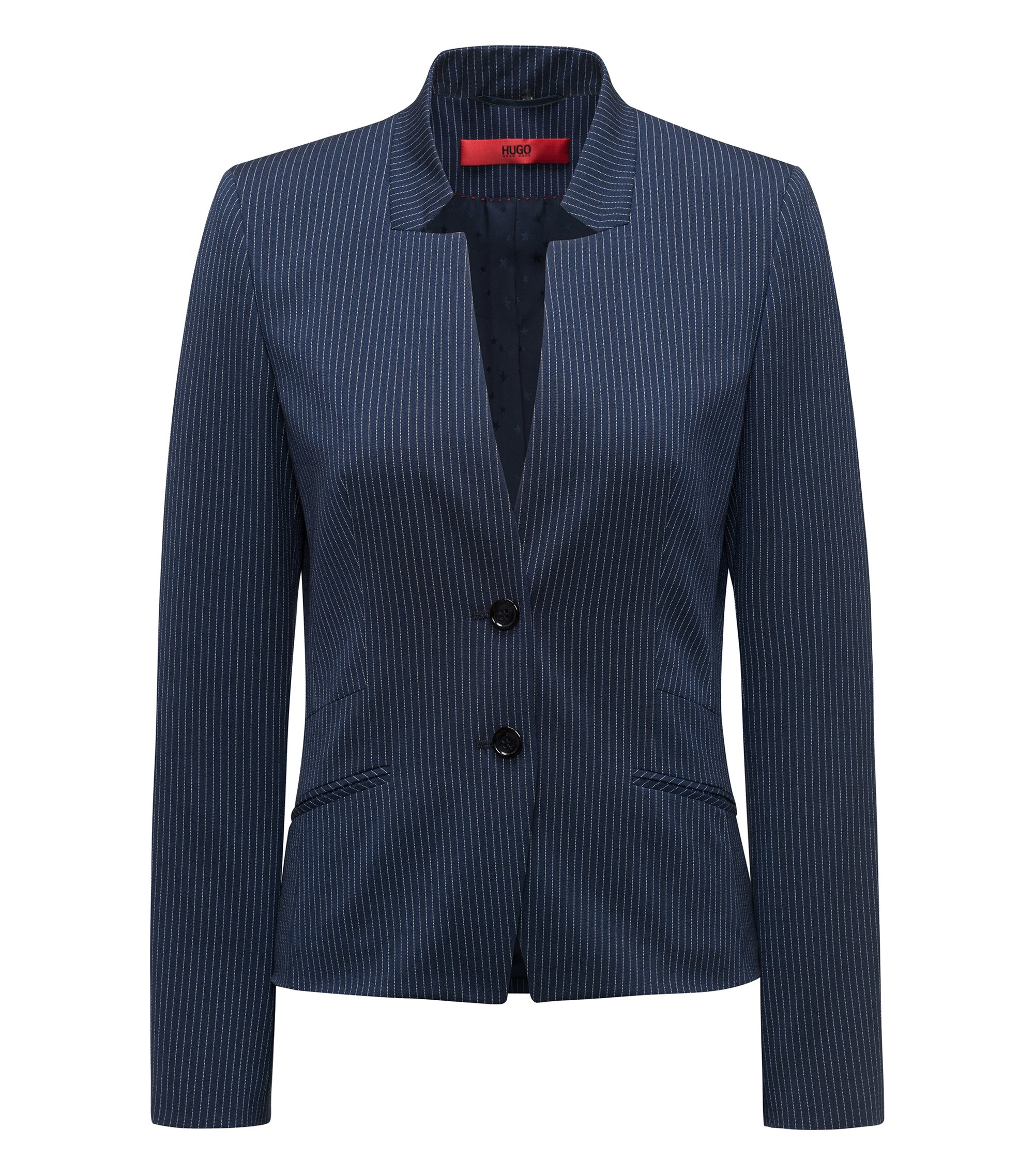 Regular-fit blazer in pinstripe stretch fabric, Open Blue