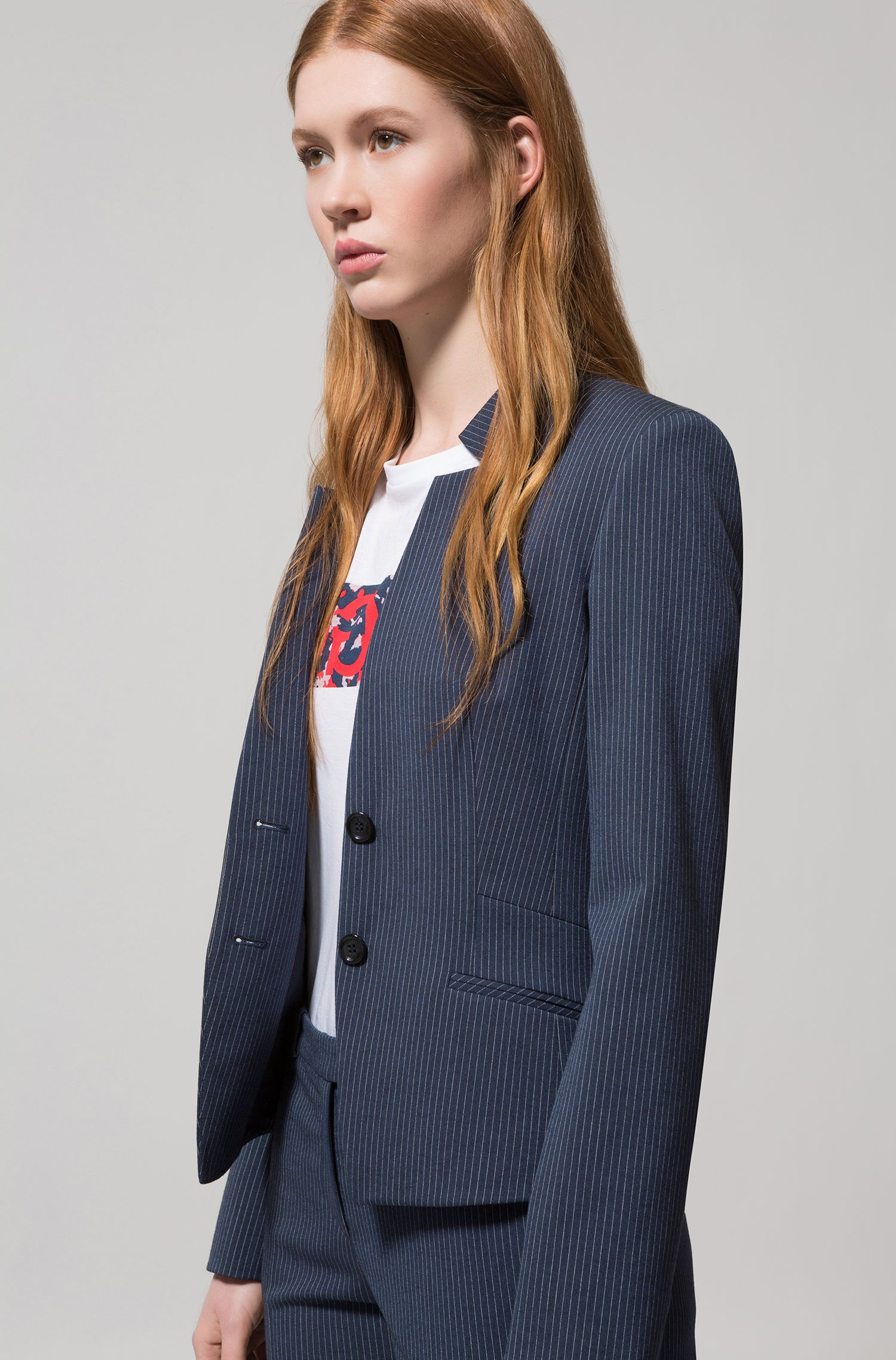 Regular-fit blazer in pinstripe stretch fabric