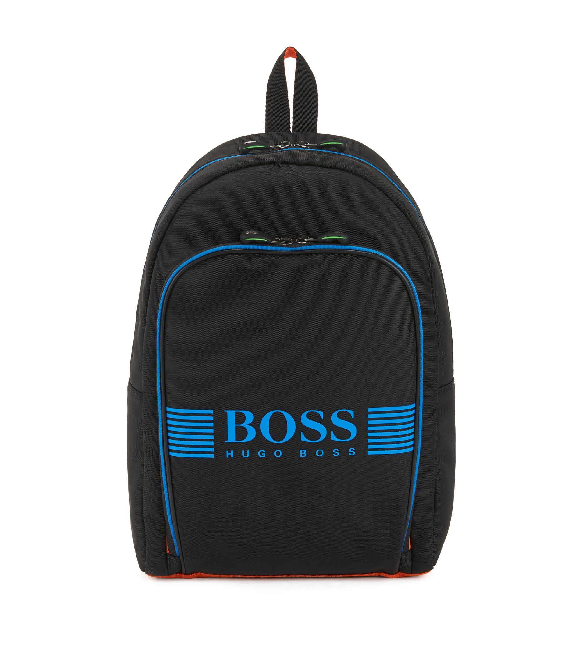 Nylon backpack with contrast rubber logo , Black