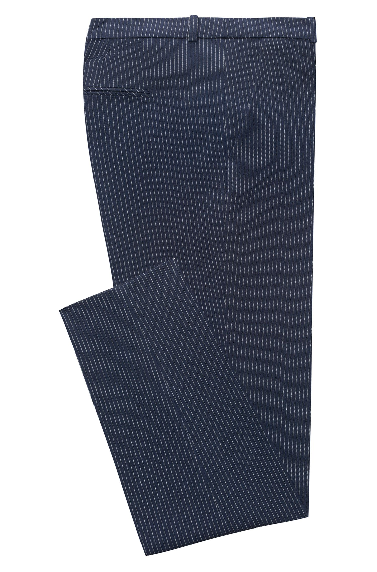 Regular-fit cigarette pants in pinstripe stretch fabric