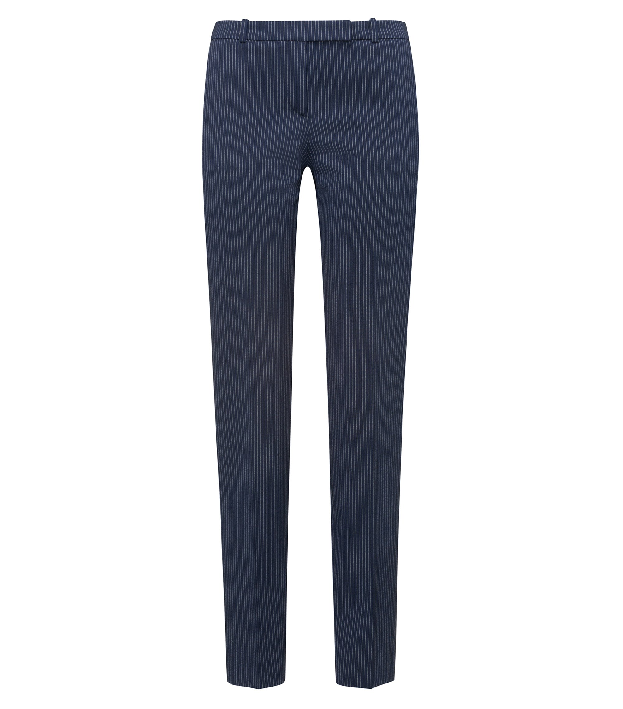 Regular-fit cigarette pants in pinstripe stretch fabric, Open Blue