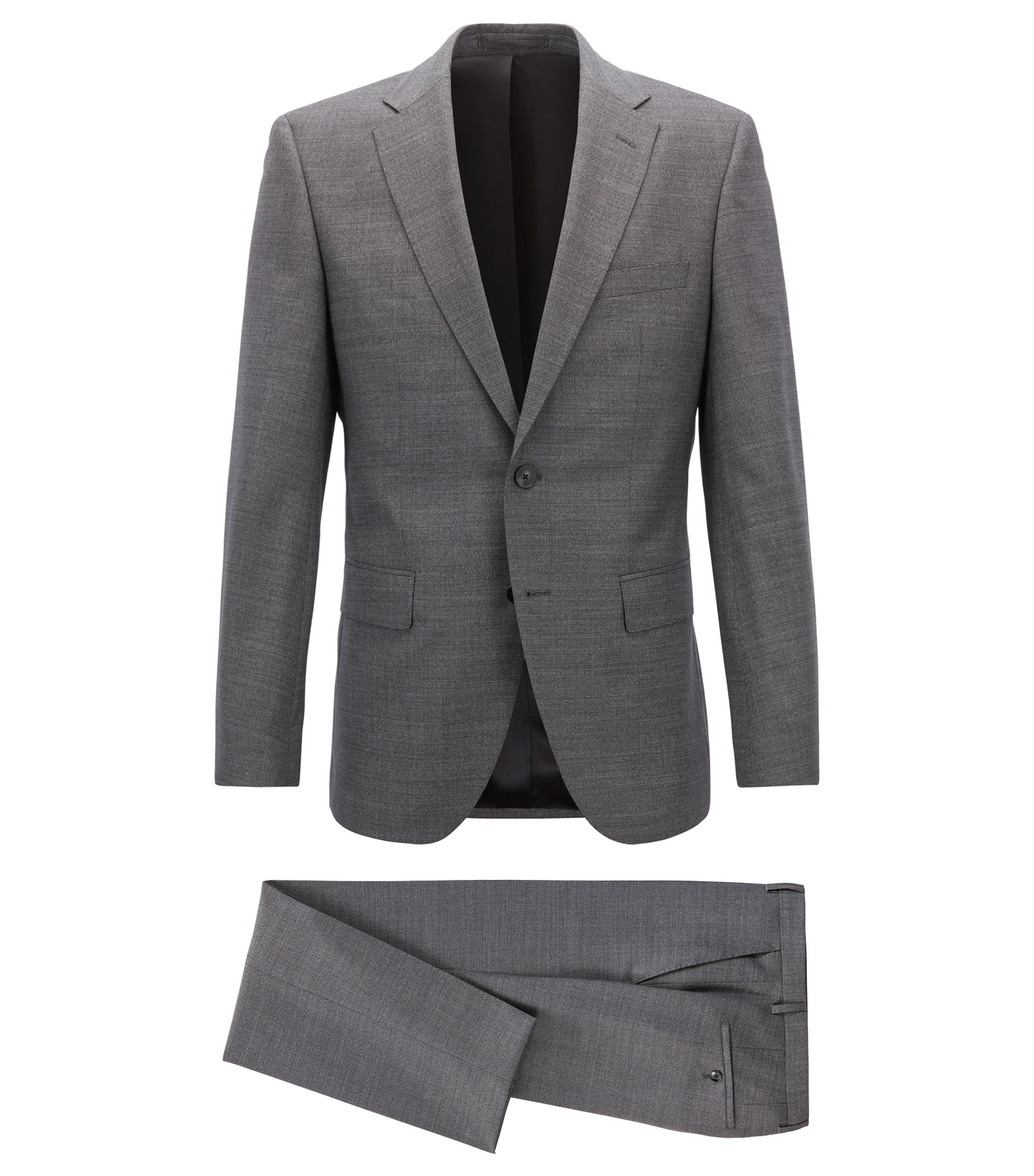 Regular-fit suit in melange virgin wool, Open Grey