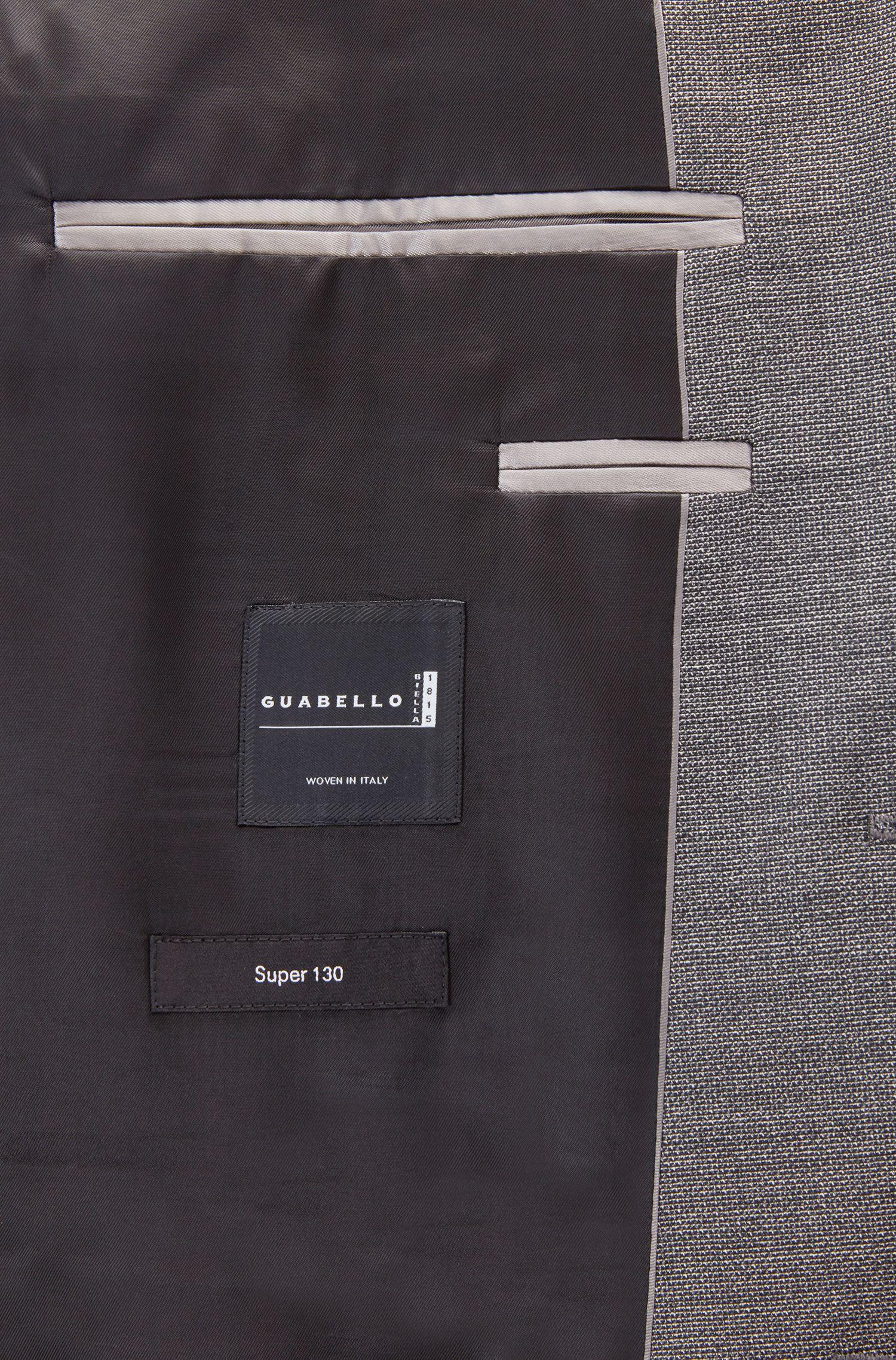Regular-fit suit in melange virgin wool, Open Grey