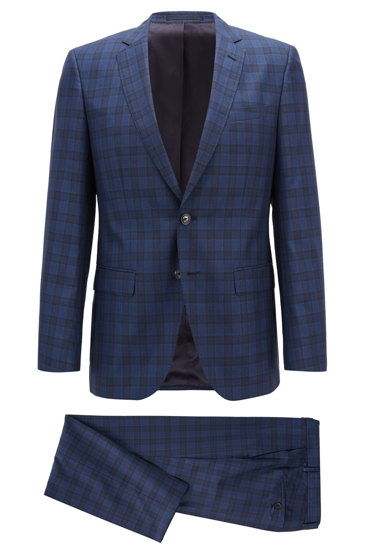 Slim-fit suit in a checked virgin-wool blend, Open Blue