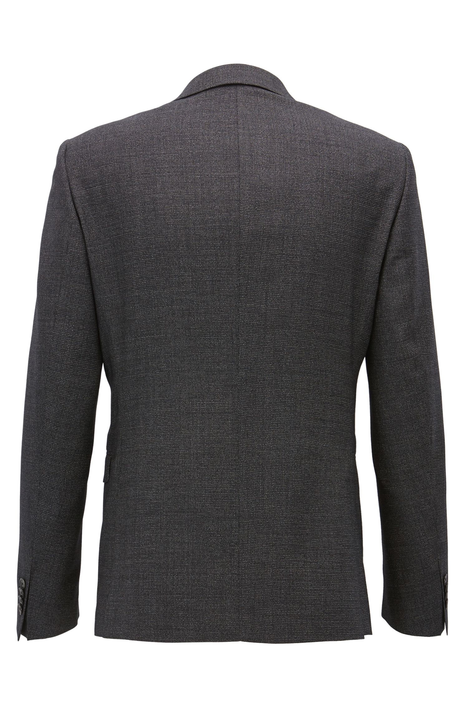 Extra-slim-fit virgin-wool suit with micro pattern