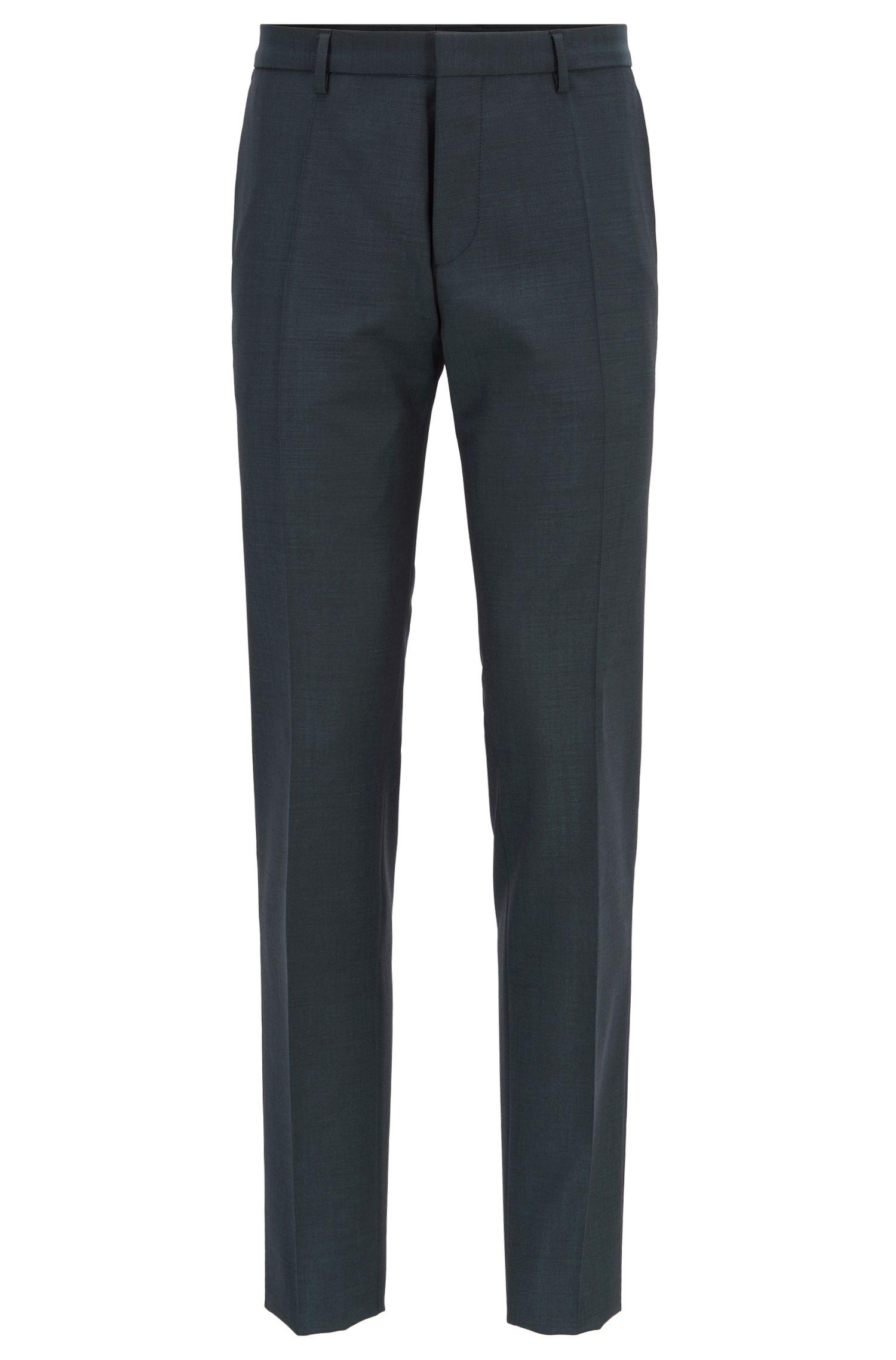 Extra-slim-fit virgin-wool-blend suit with mohair, Dark Green