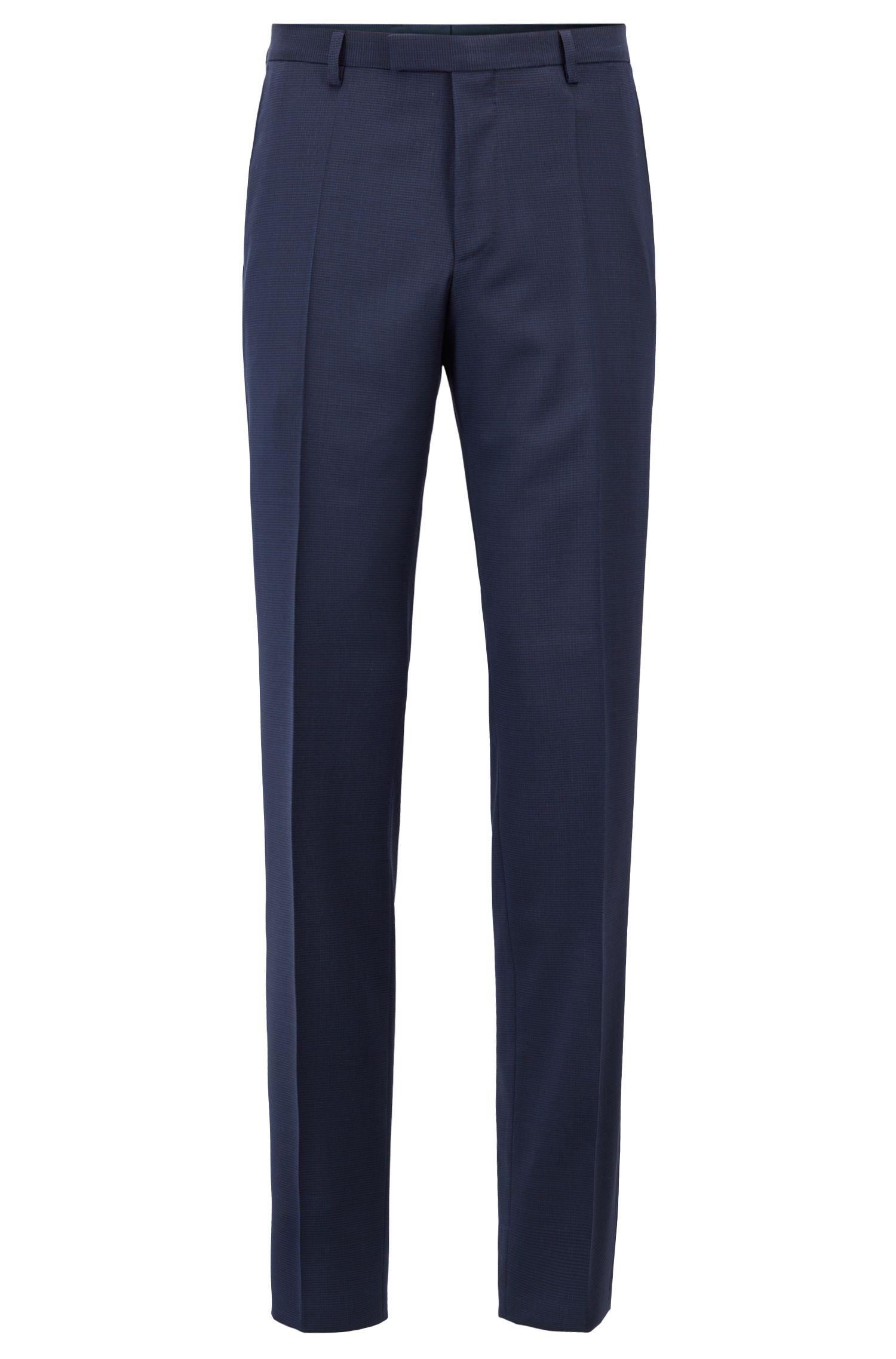 Regular-fit pants in melange virgin wool, Open Blue