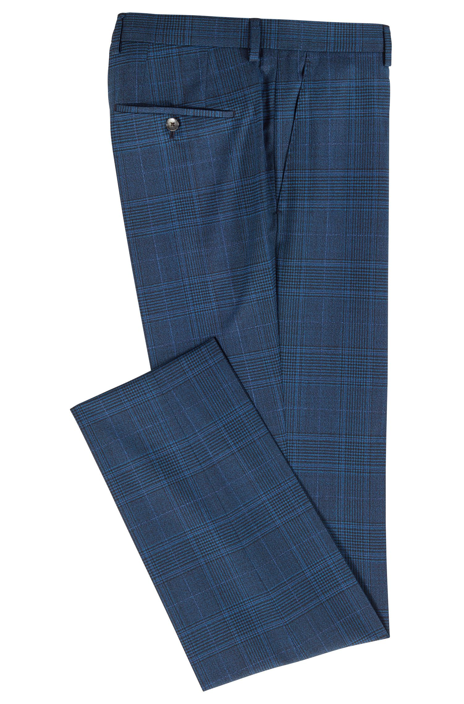 Slim-fit pants in virgin wool with plain check pattern, Open Blue