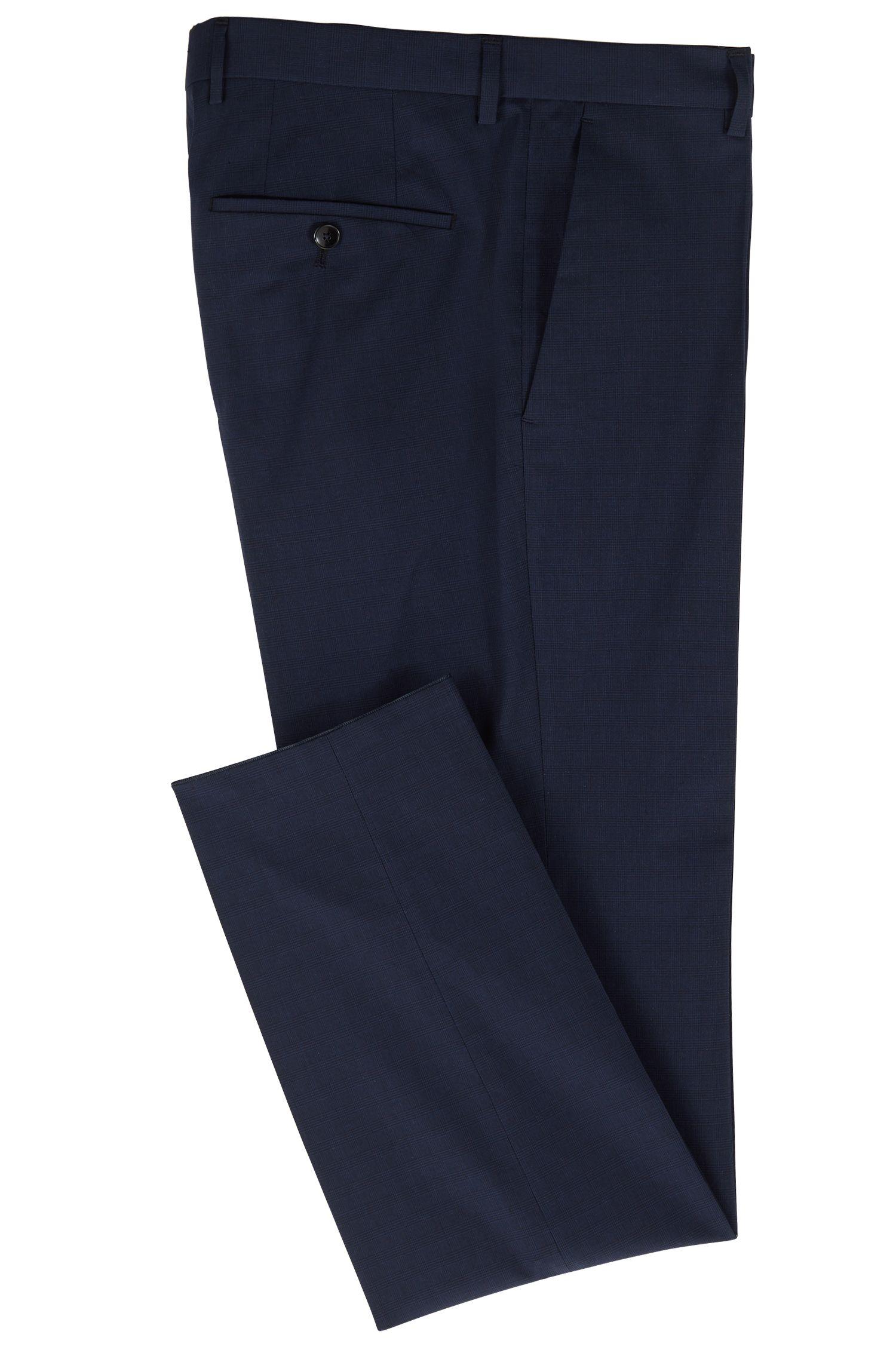 Slim-fit pants in melange stretch cotton, Open Blue