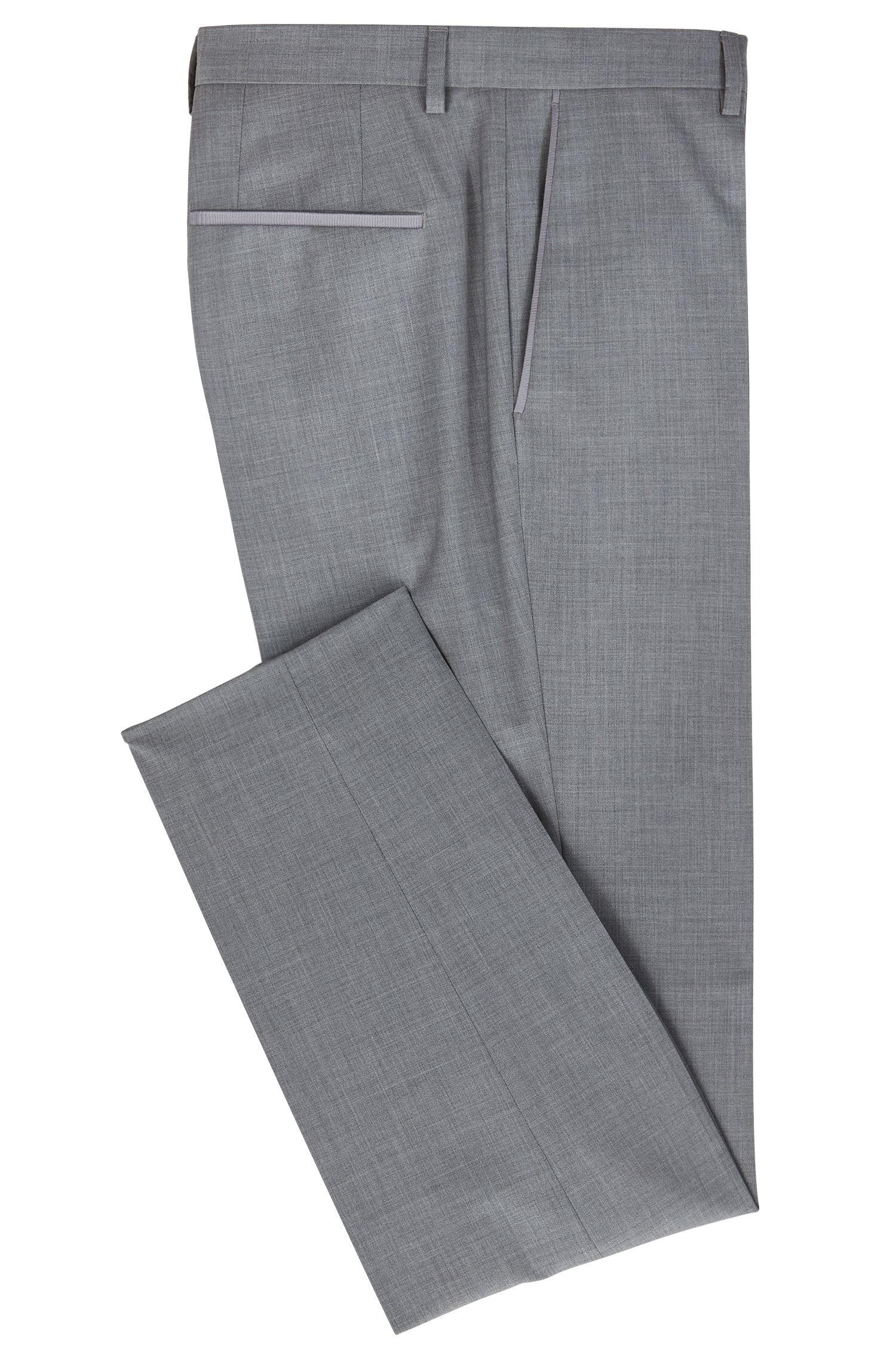 Slim-fit pants in virgin wool with tape details, Grey