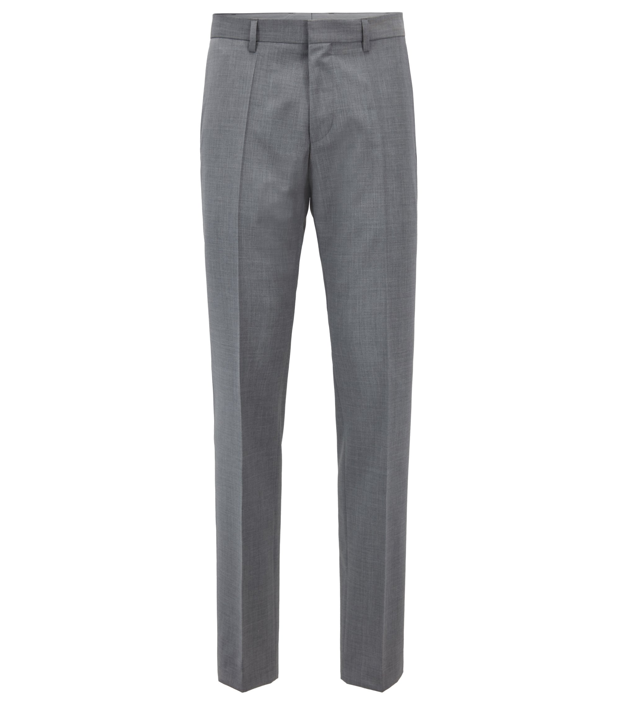 Slim-fit pants in virgin wool with tape details, Grey