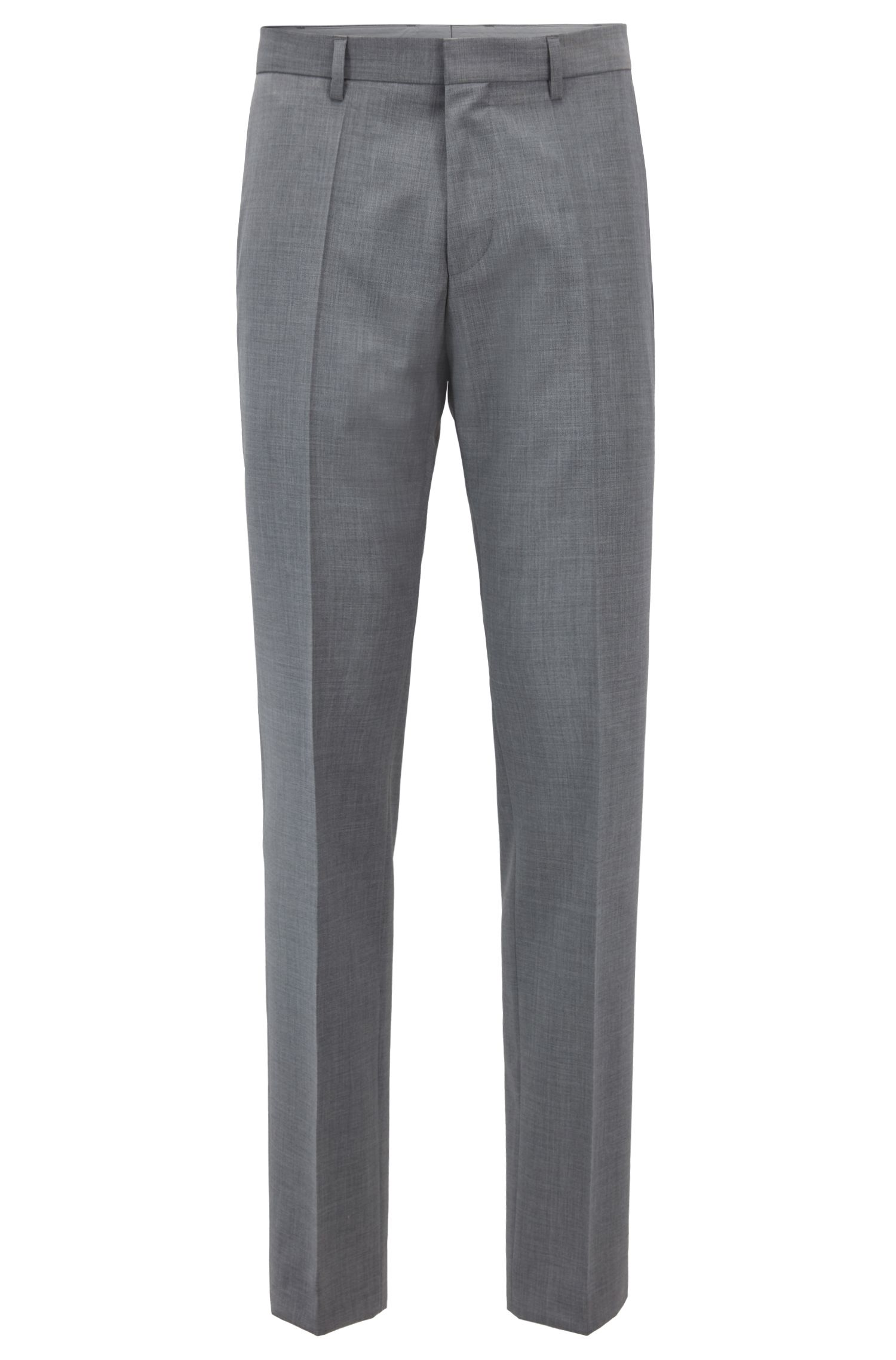 Tapered-fit virgin-wool trousers with logo taping HUGO BOSS