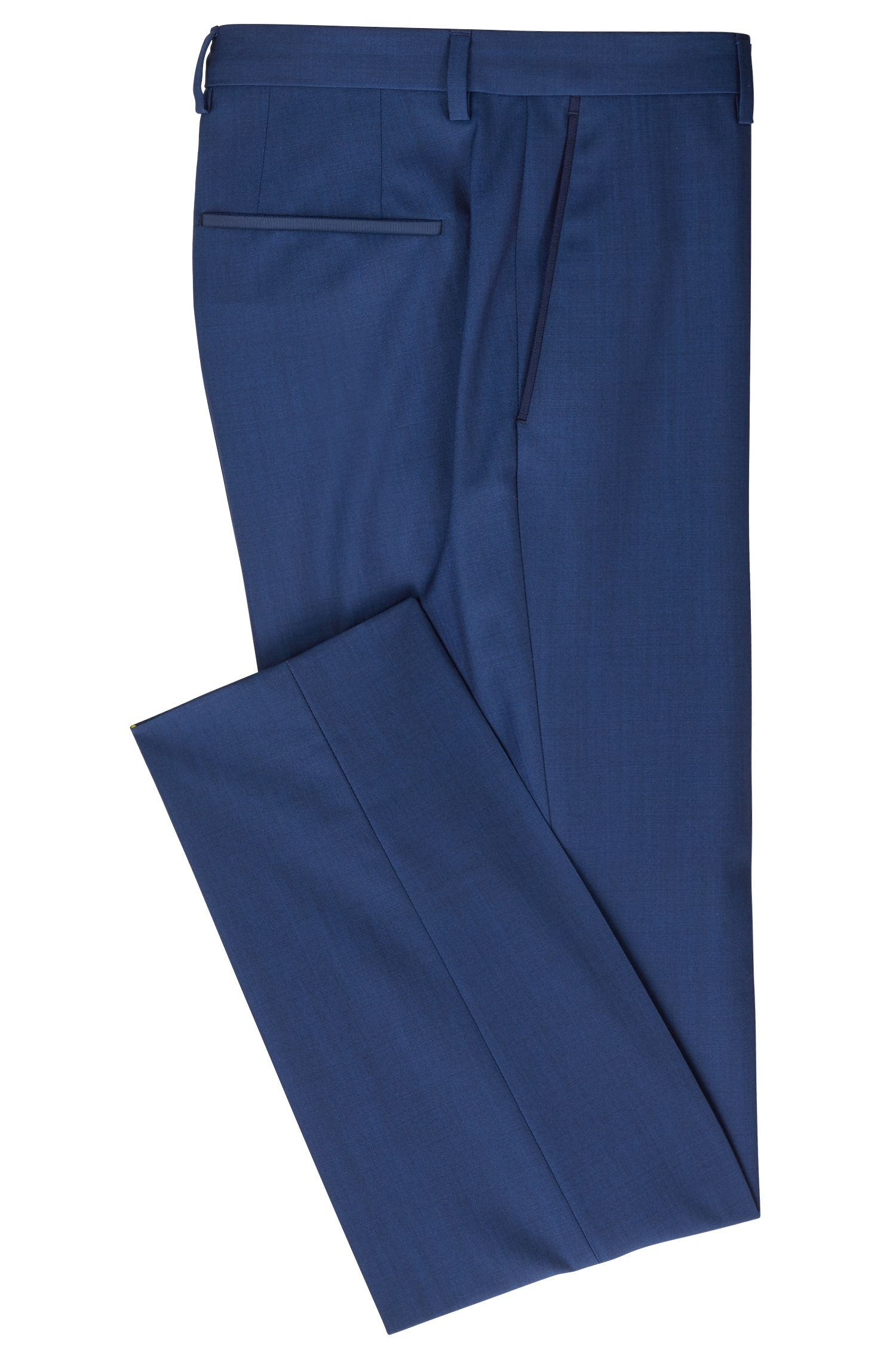 Slim-fit pants in virgin wool with tape details, Open Blue