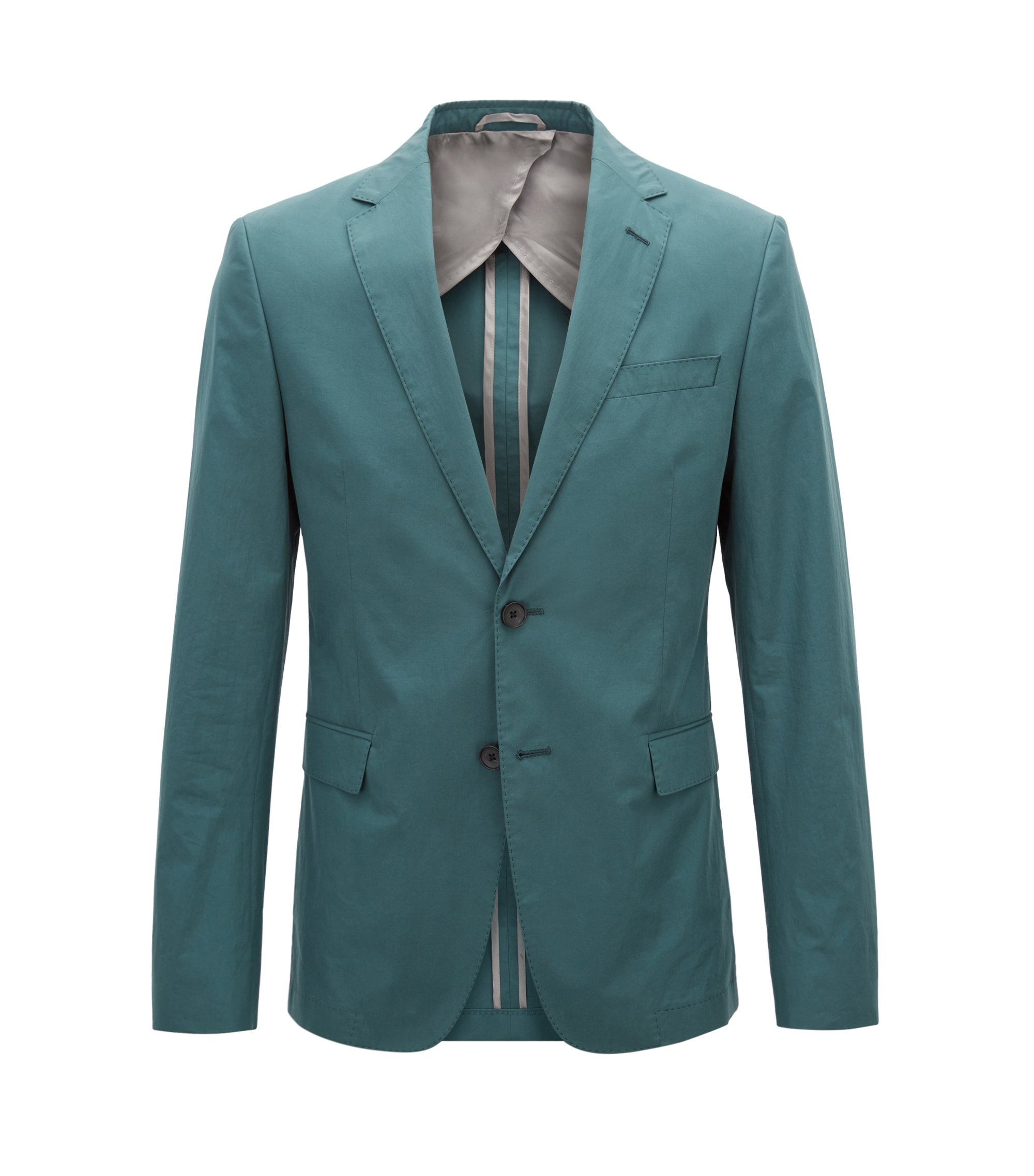 Slim-fit blazer in paper-touch cotton poplin, Dark Green