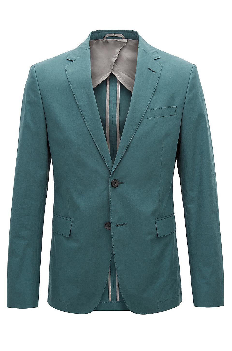 BOSS - Slim-fit blazer in paper-touch cotton poplin