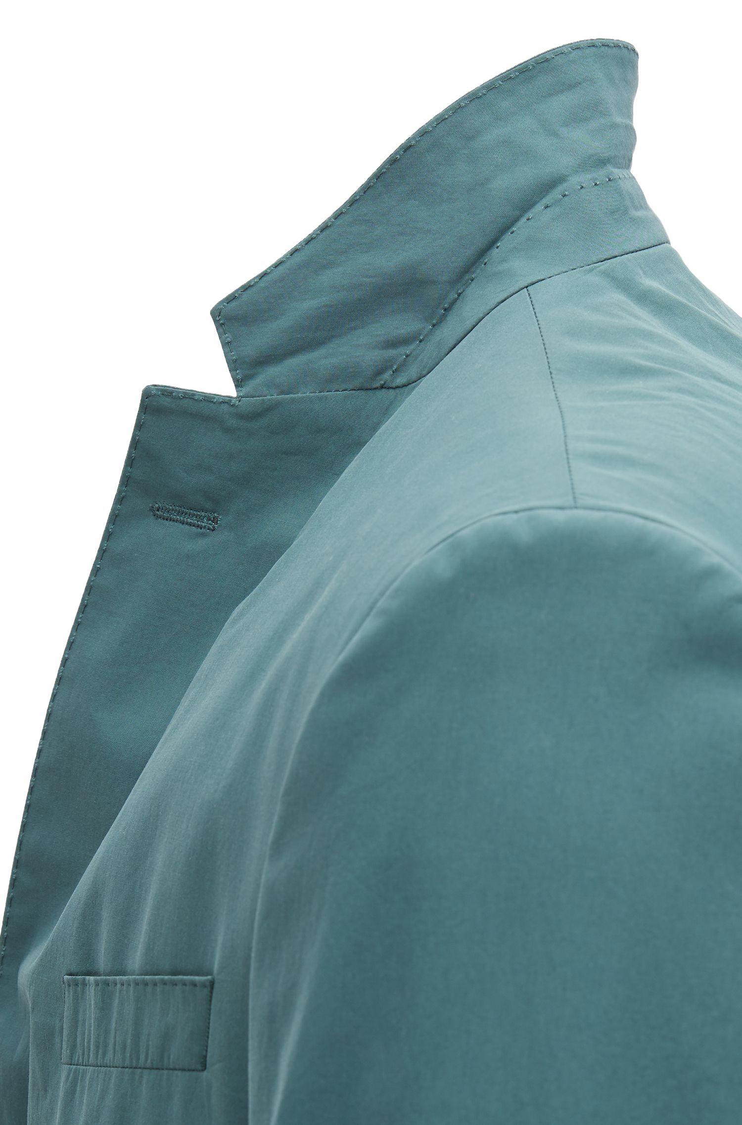 Slim-fit blazer in paper-touch cotton poplin, Dark Green