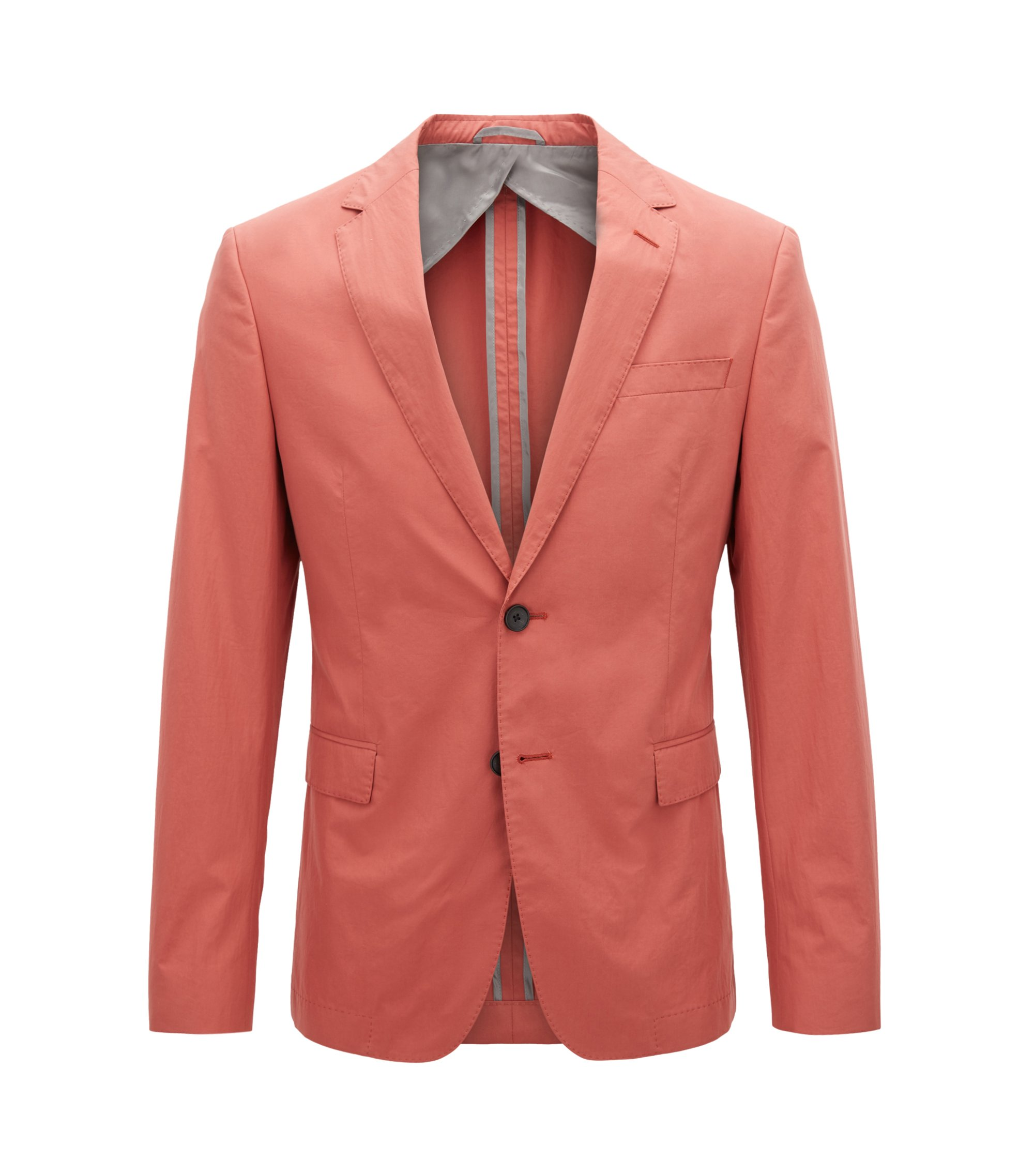 Slim-fit blazer in paper-touch cotton poplin, Open Red