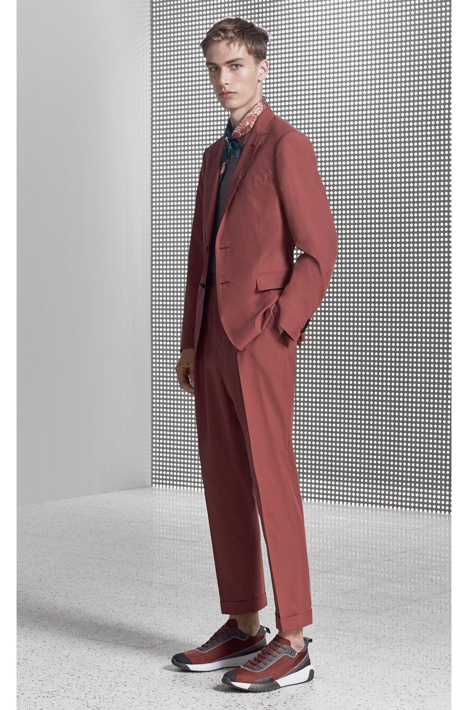 Slim-fit blazer in paper-touch cotton poplin, Open Red