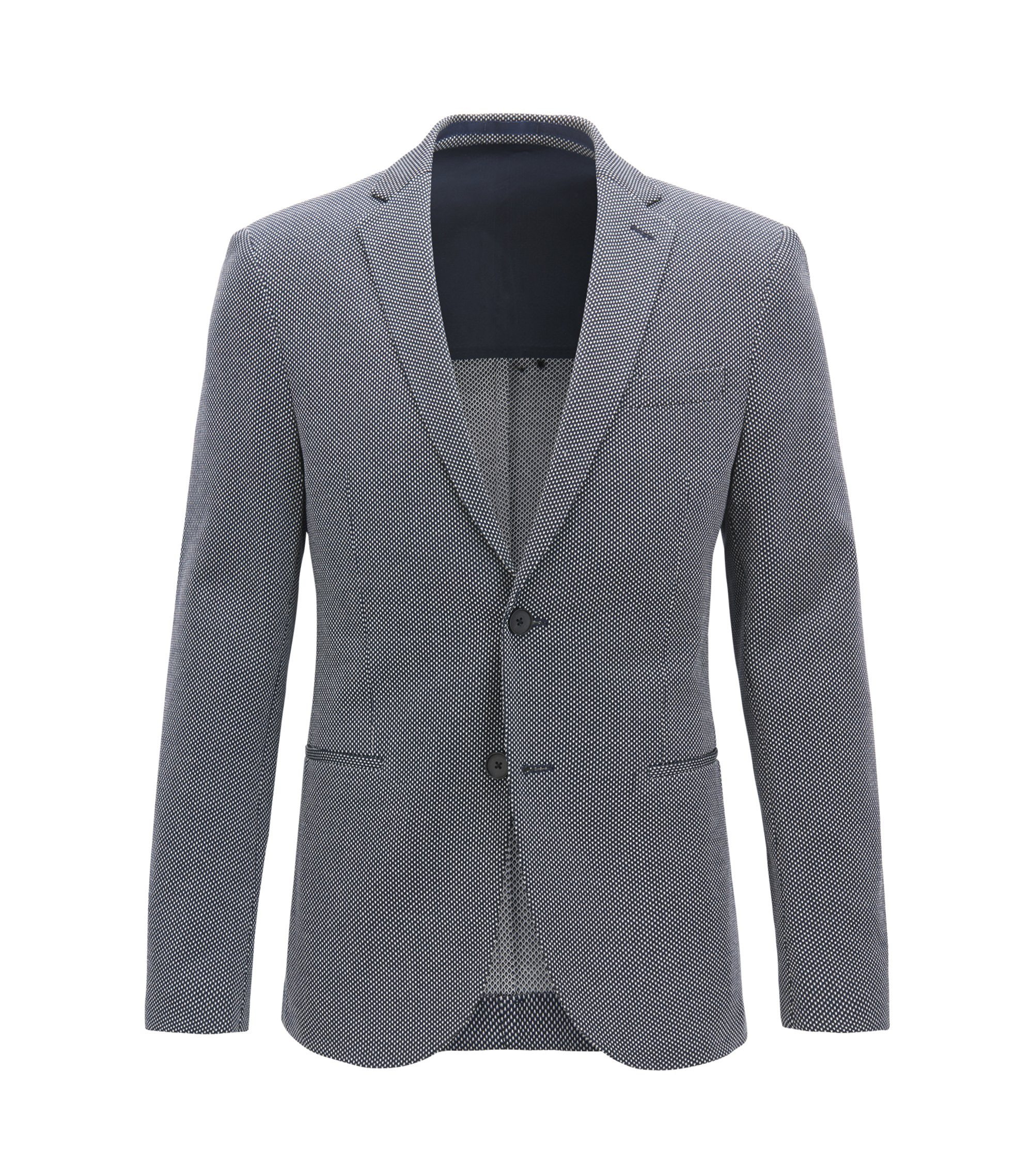 Slim-fit blazer with all-over micro pattern, Open Blue