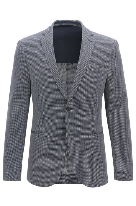 a2f58378 BOSS - Slim-fit blazer with all-over micro pattern