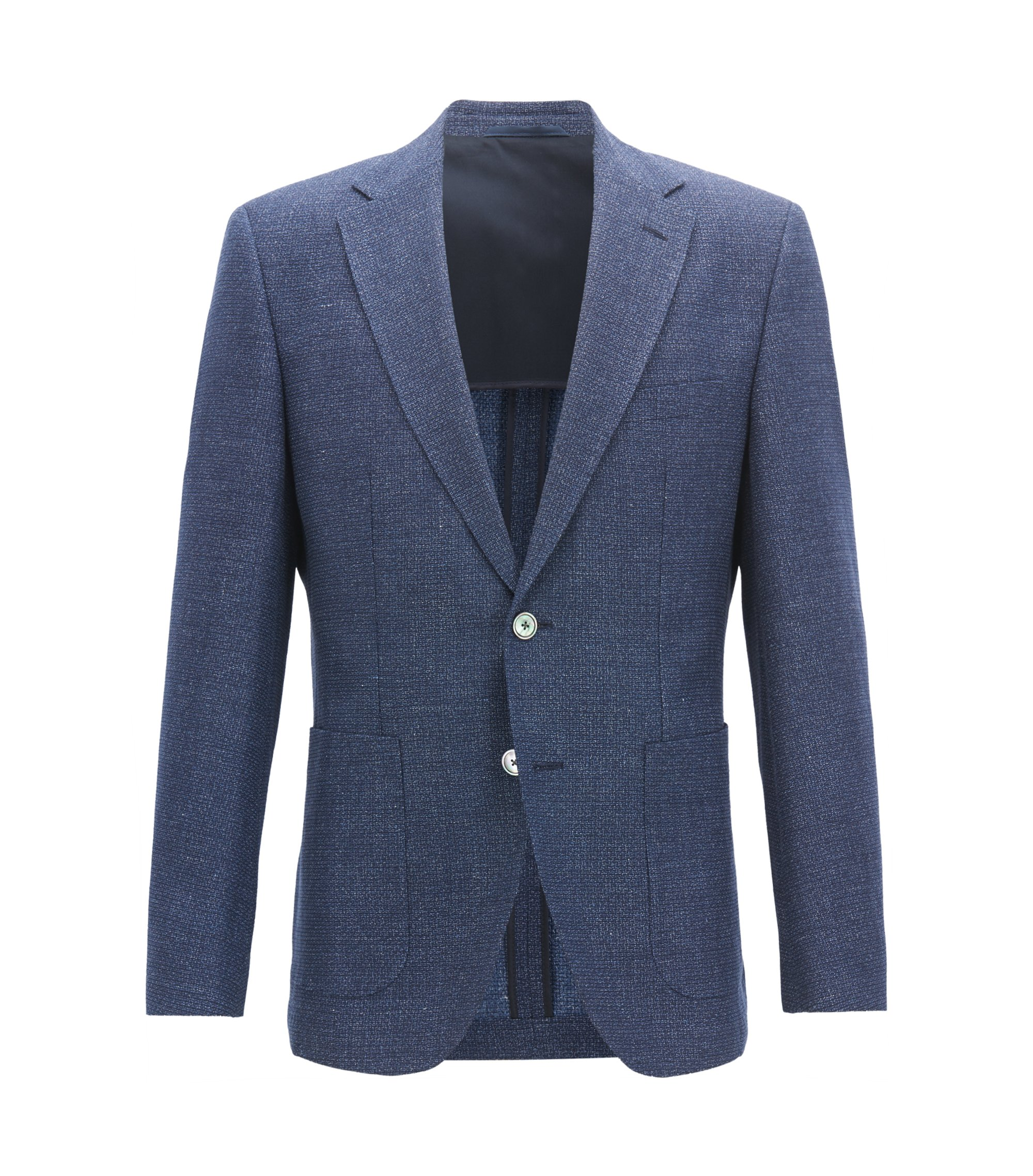 Regular-fit jacket with mother-of-pearl buttons, Open Blue
