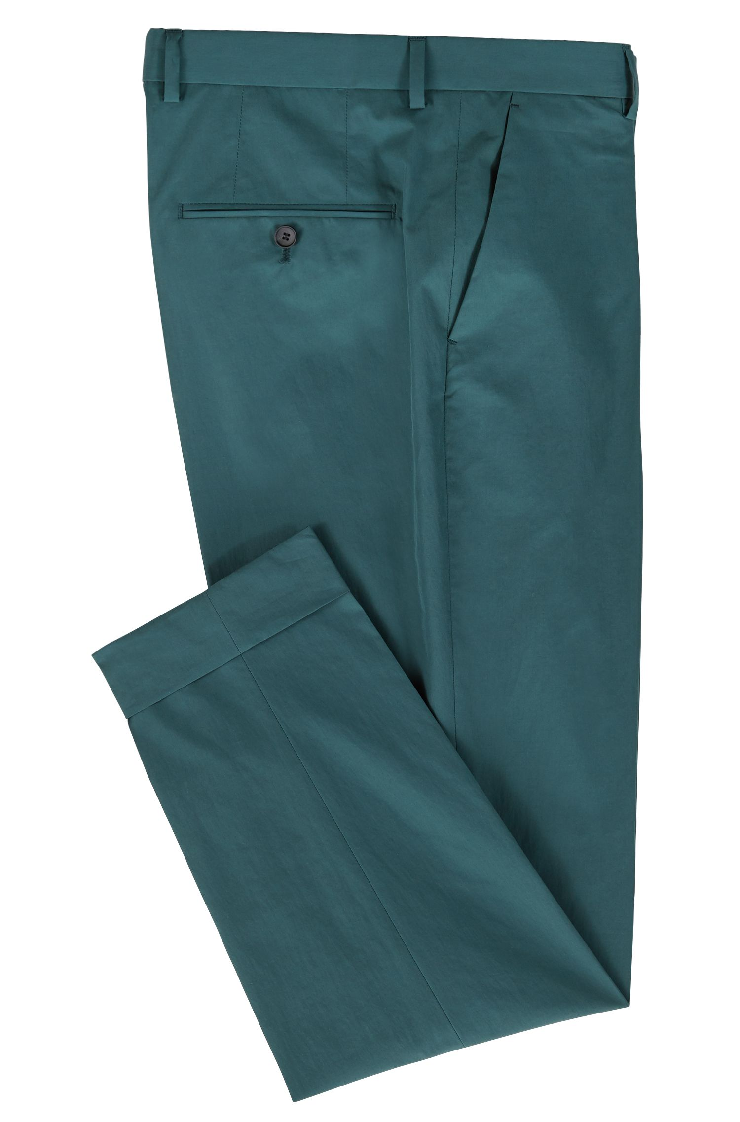 Relaxed-fit cropped pants in paper-touch cotton, Dark Green