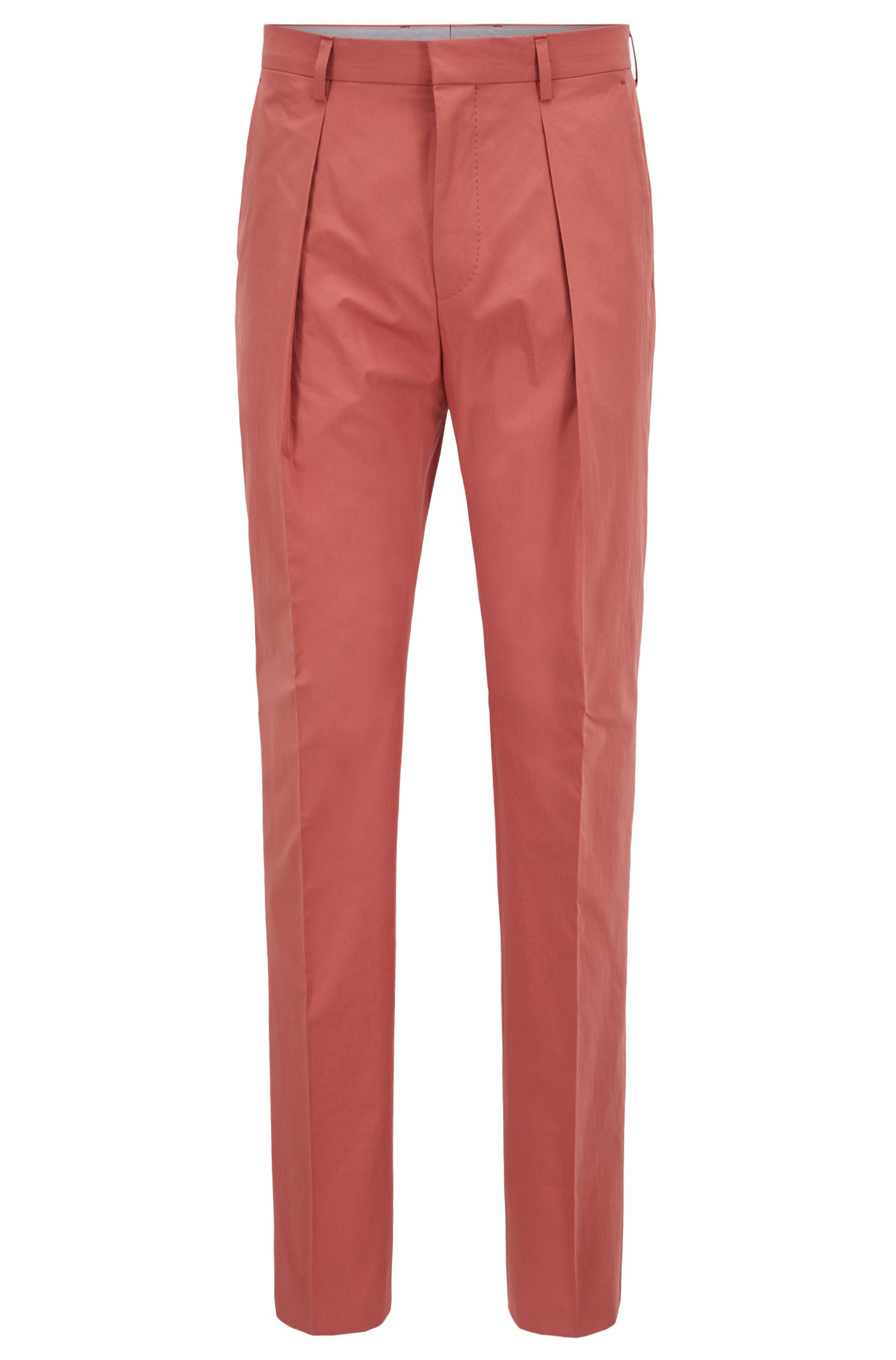 Relaxed-fit cropped pants in paper-touch cotton, Open Red