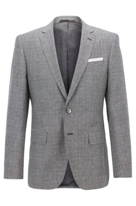 Slim-fit blazer with foldable pocket square, Grey
