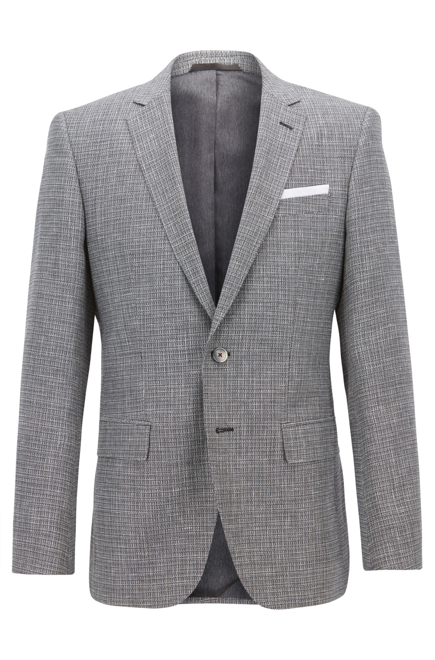 Slim-fit blazer with foldable pocket square